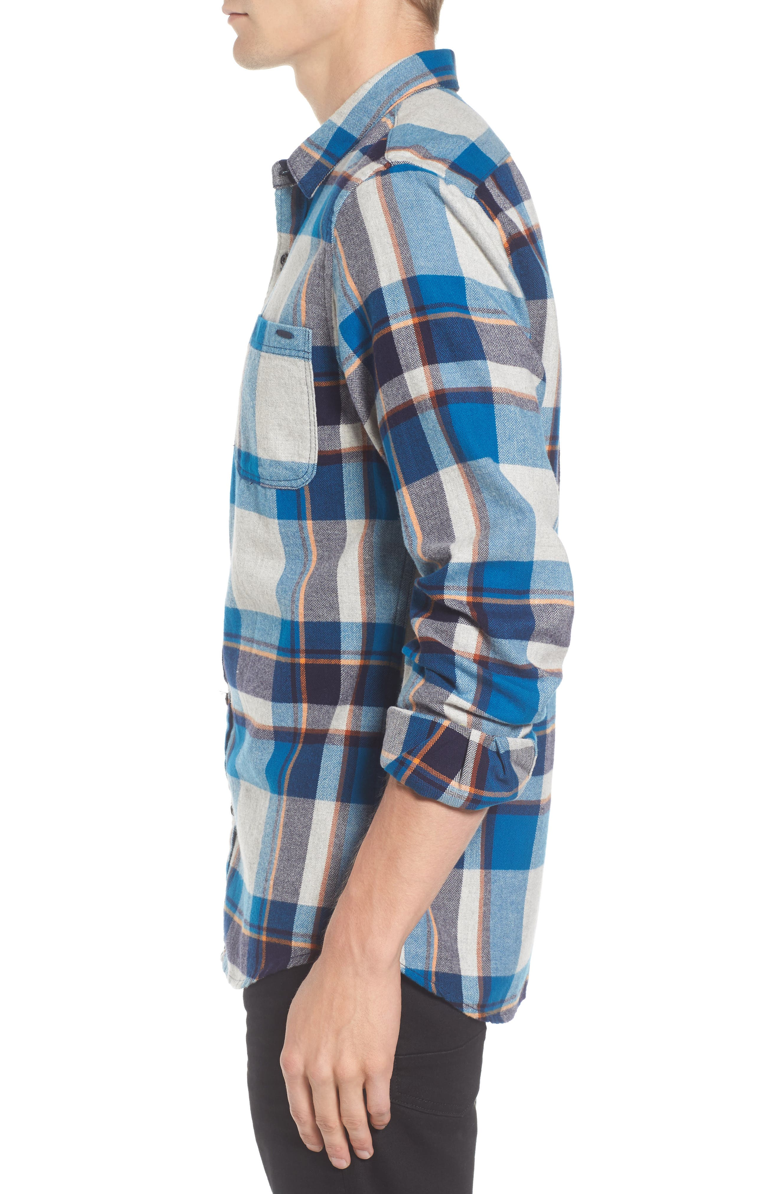 Brushed Flannel Plaid Shirt,                             Alternate thumbnail 3, color,                             111