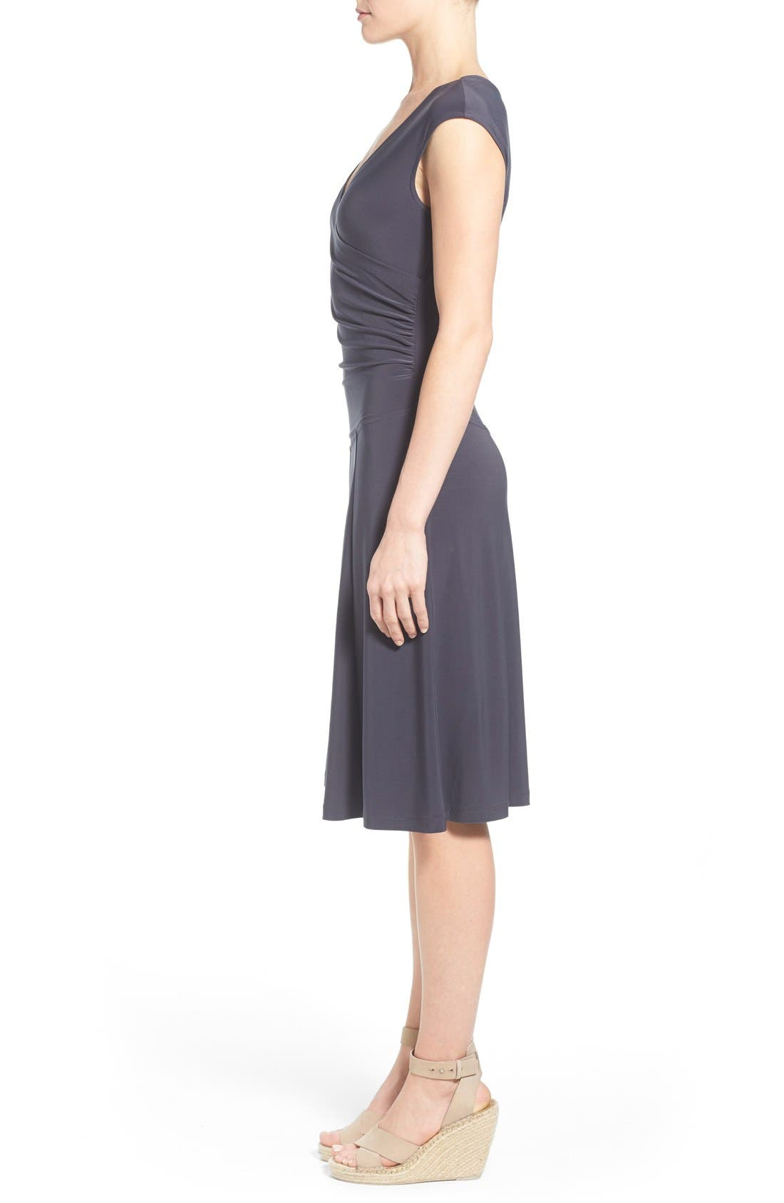 Matte Jersey Faux Wrap Fit & Flare Dress,                             Alternate thumbnail 5, color,