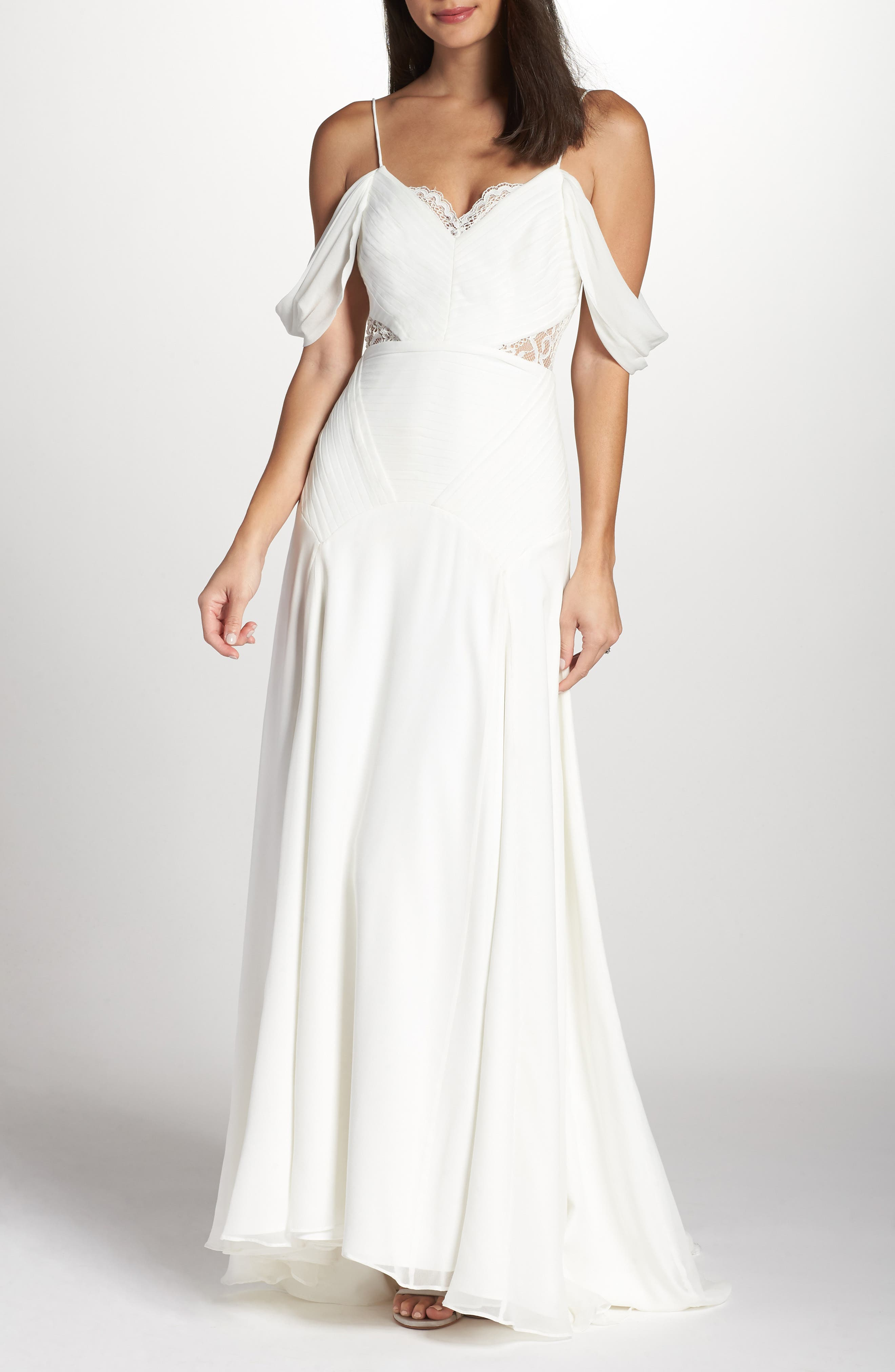 Fame & Partners The Fitzgerald Cold Shoulder Gown, White