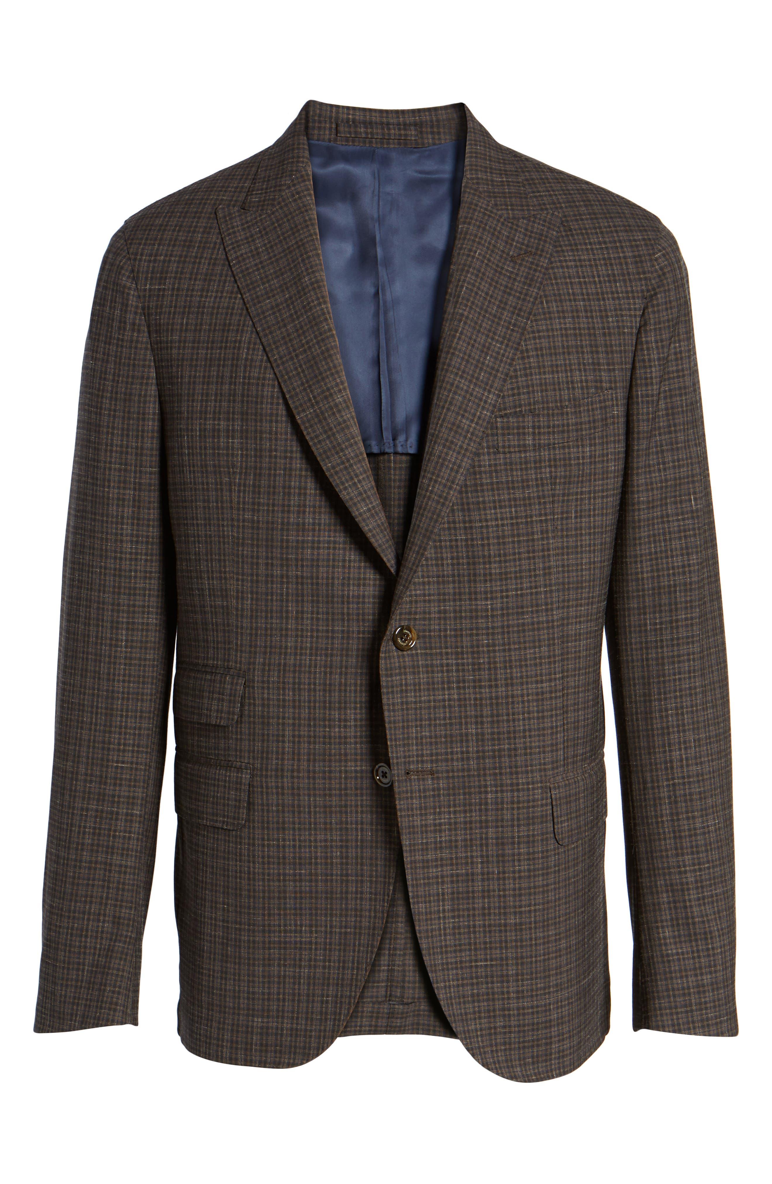 Trim Fit Check Wool & Linen Sport Coat,                             Alternate thumbnail 5, color,                             201