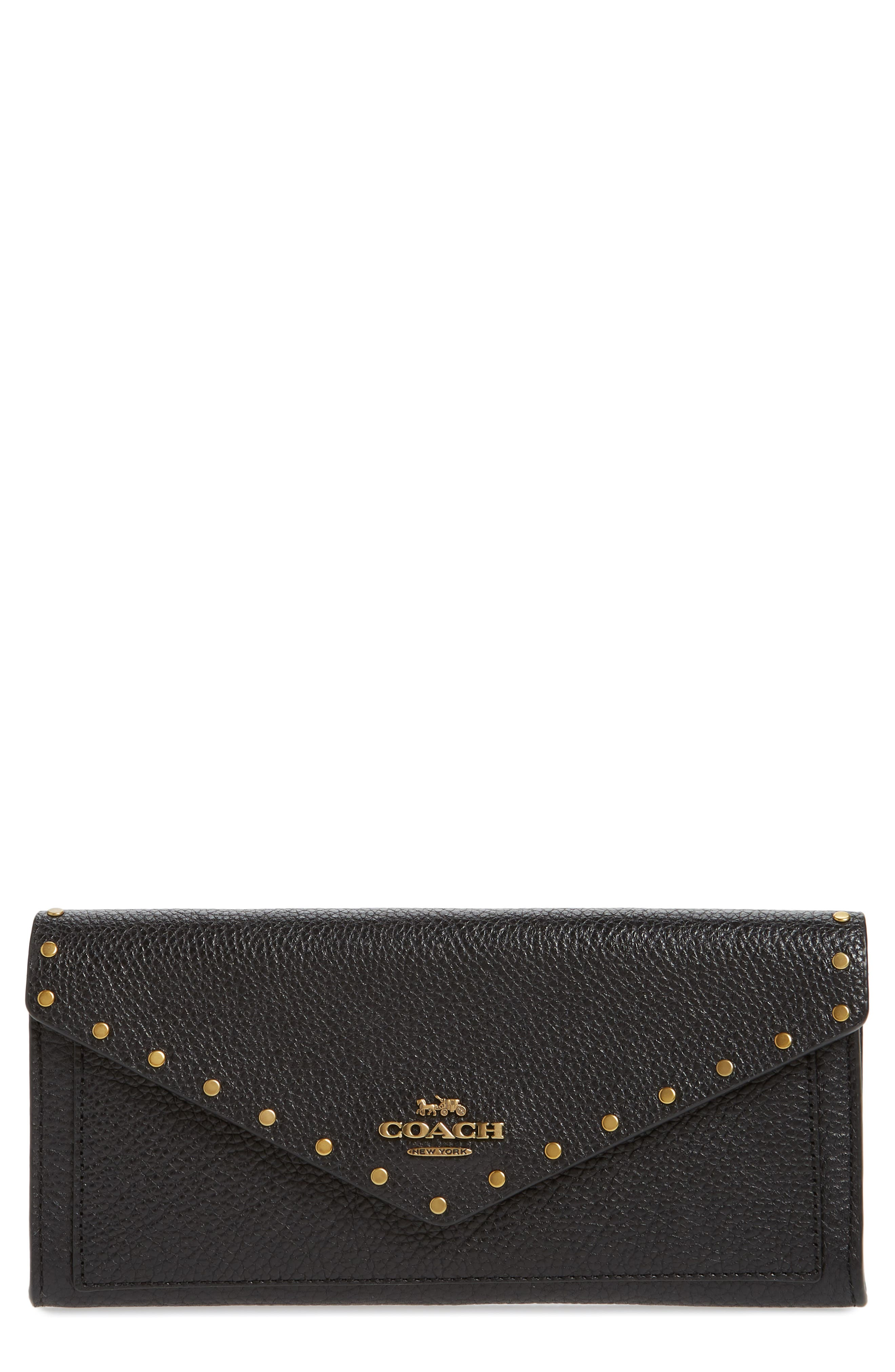 Soft Border Rivets Leather Envelope Wallet,                             Main thumbnail 1, color,                             BLACK