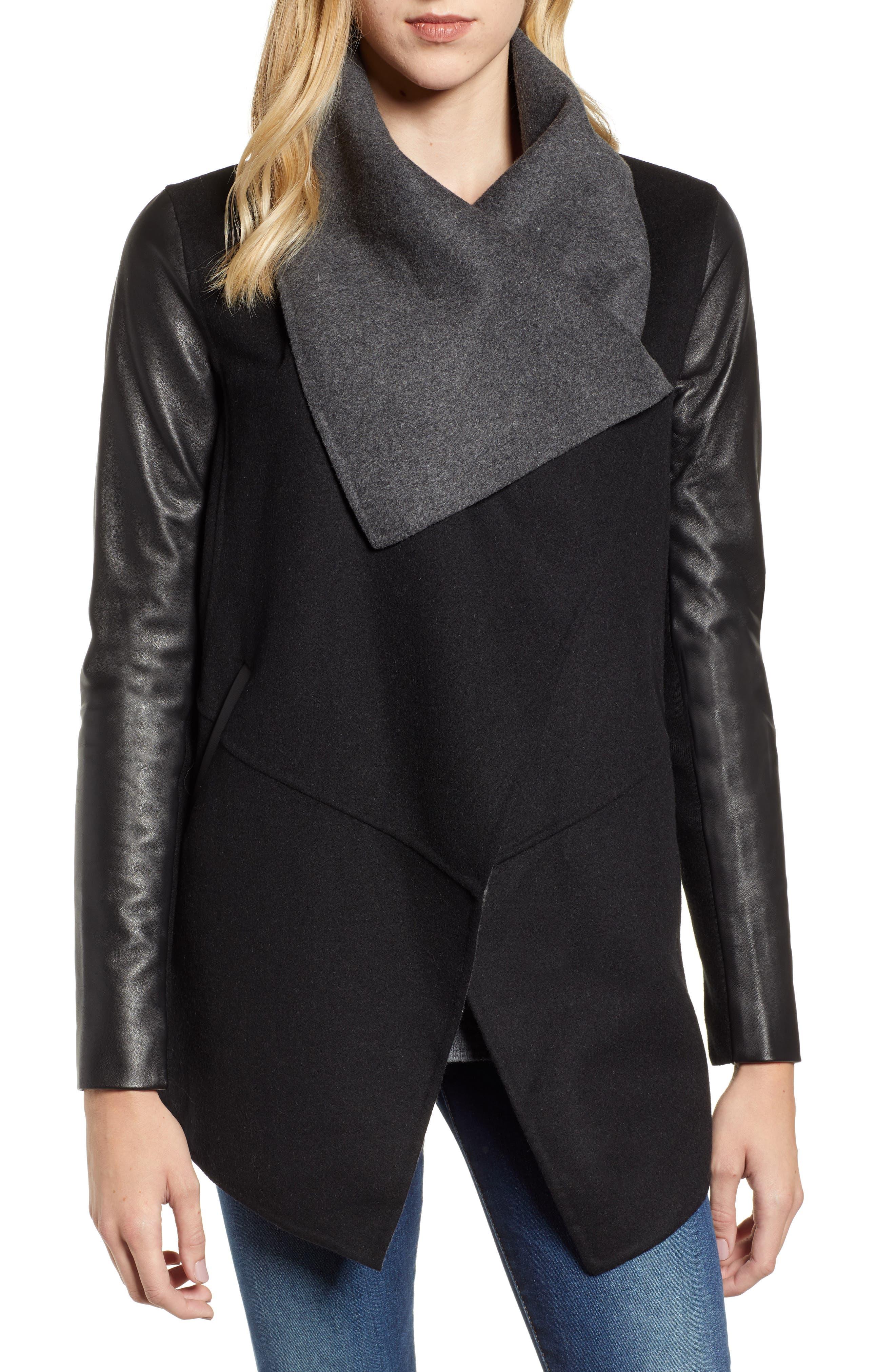 Vane Asymmetrical Leather Sleeve Coat,                             Alternate thumbnail 4, color,                             BLACK/ CHARCOAL