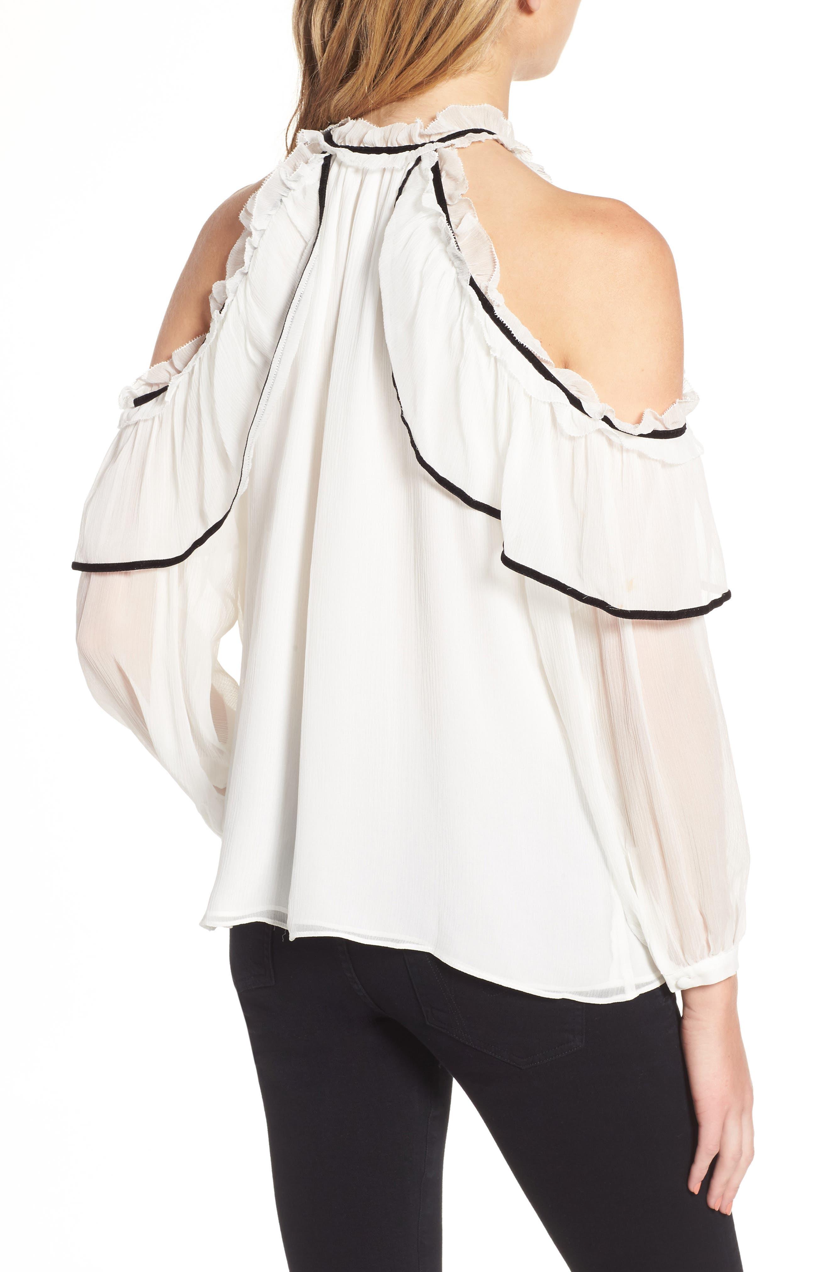Ventura Cold Shoulder Silk Blouse,                             Alternate thumbnail 2, color,