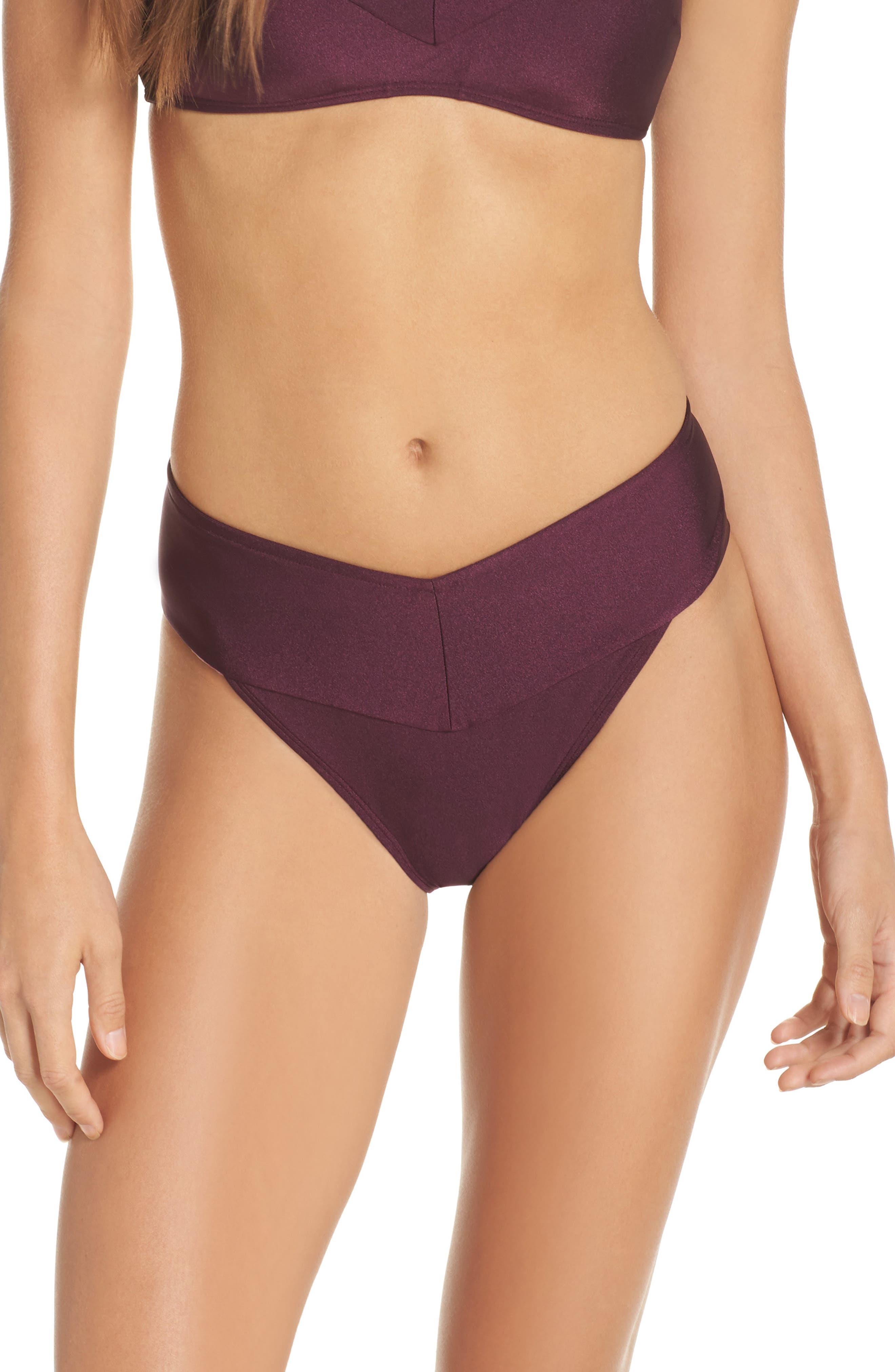 Ted Baker High Waisted Wrap Bikini Bottom,                         Main,                         color, DEEP PURPLE