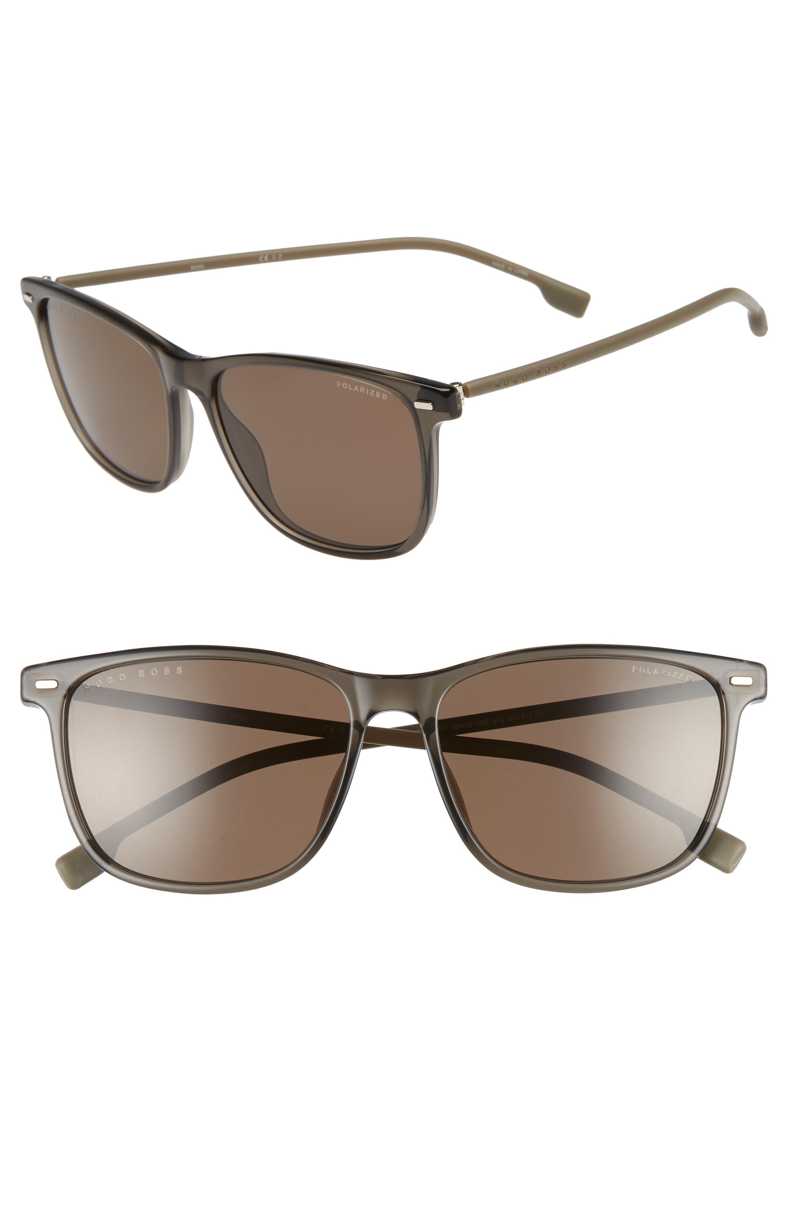 56mm Polarized Sunglasses,                         Main,                         color, GREY BEIGE