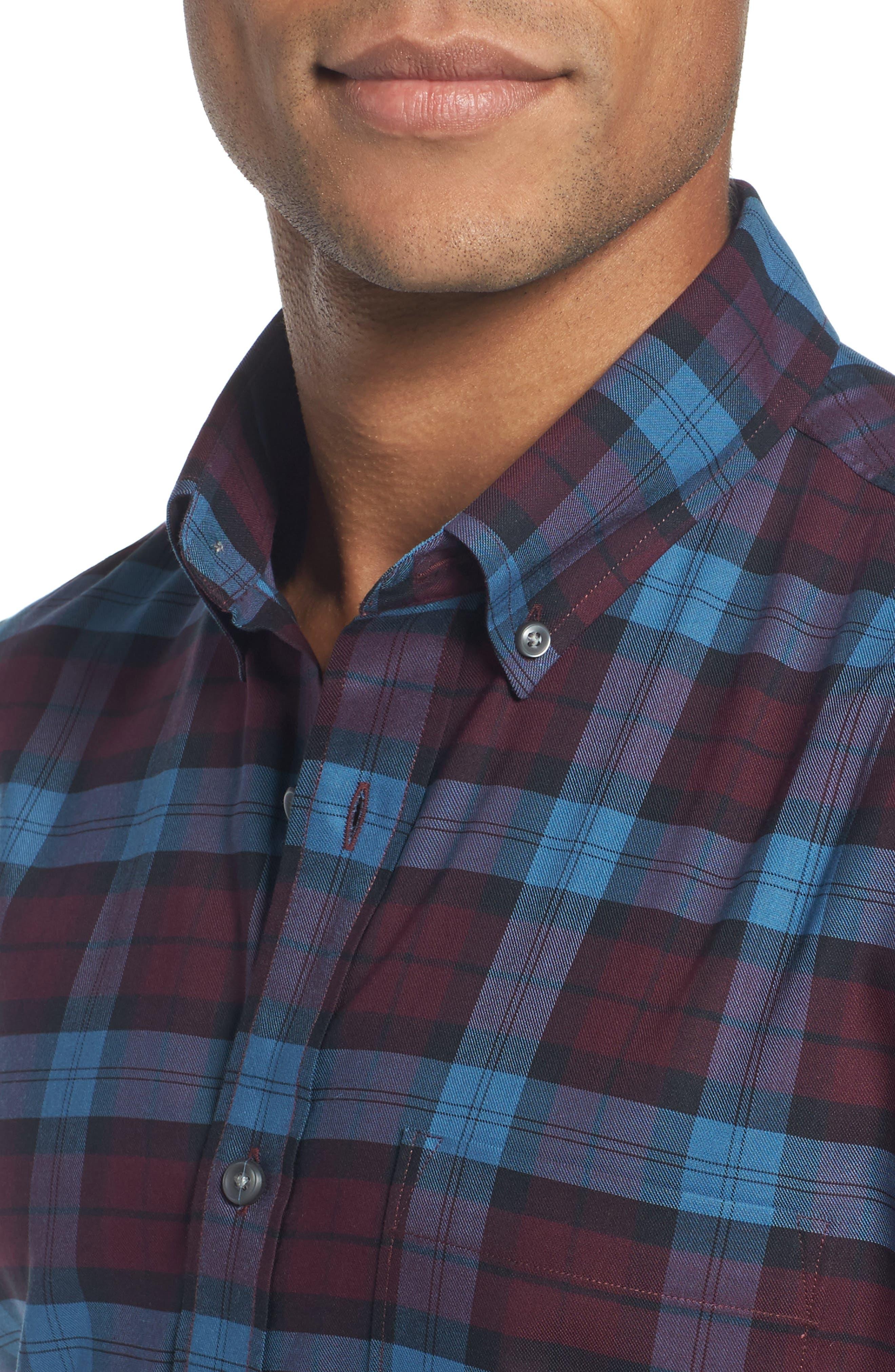 Tech-Smart Slim Fit Plaid Sport Shirt,                             Alternate thumbnail 4, color,