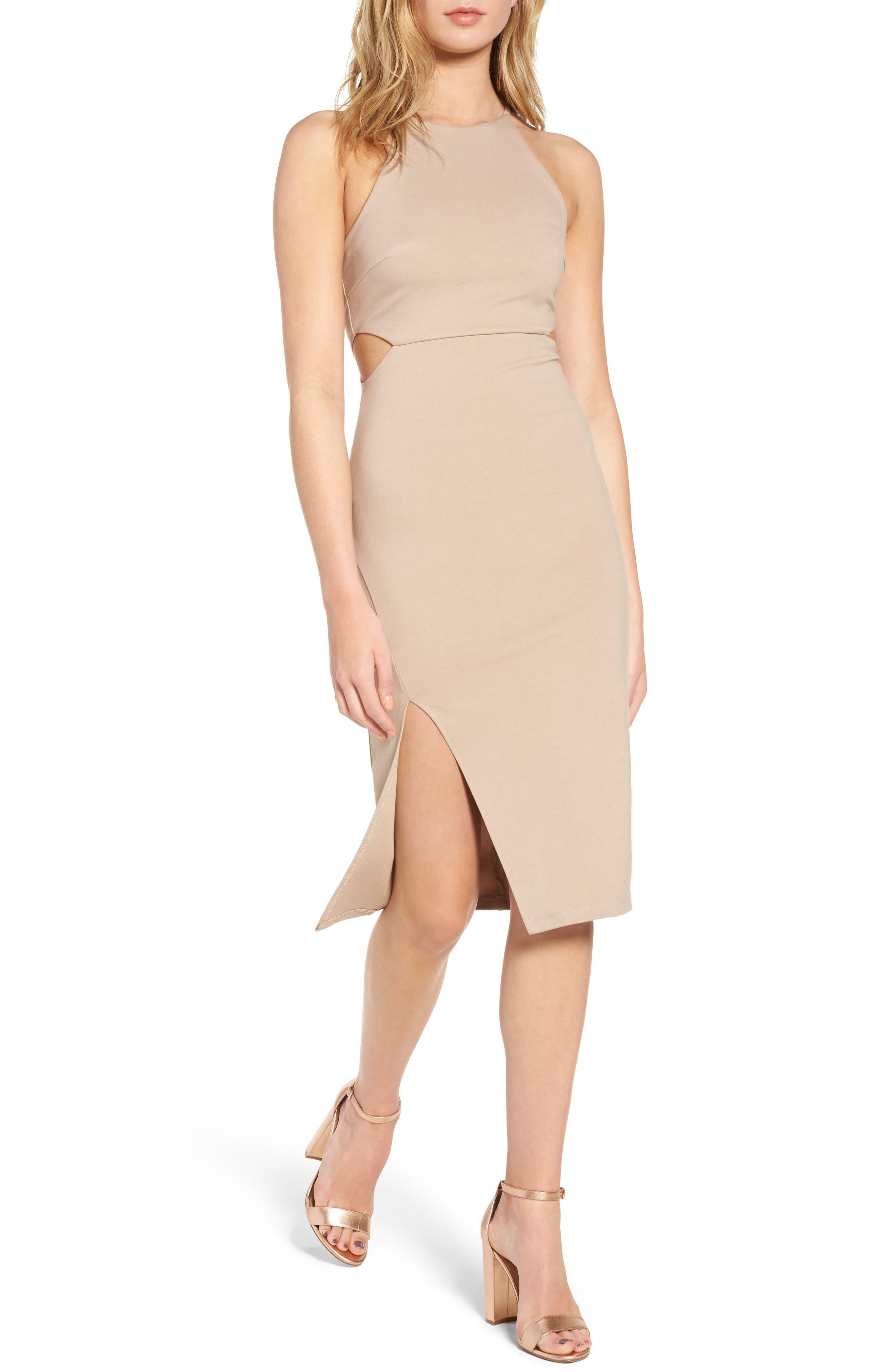 Side Cutout Body Con Dress,                             Main thumbnail 2, color,