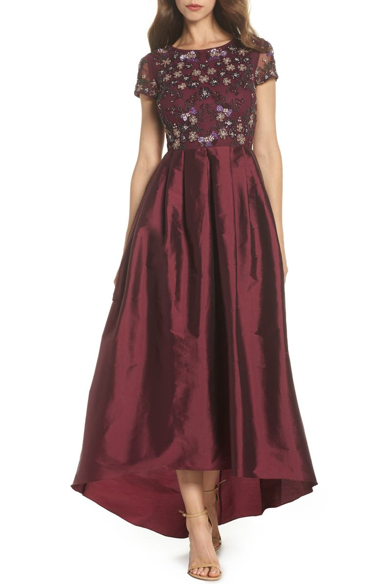Adrianna Papell Beaded Bodice High/Low Ballgown | Nordstrom