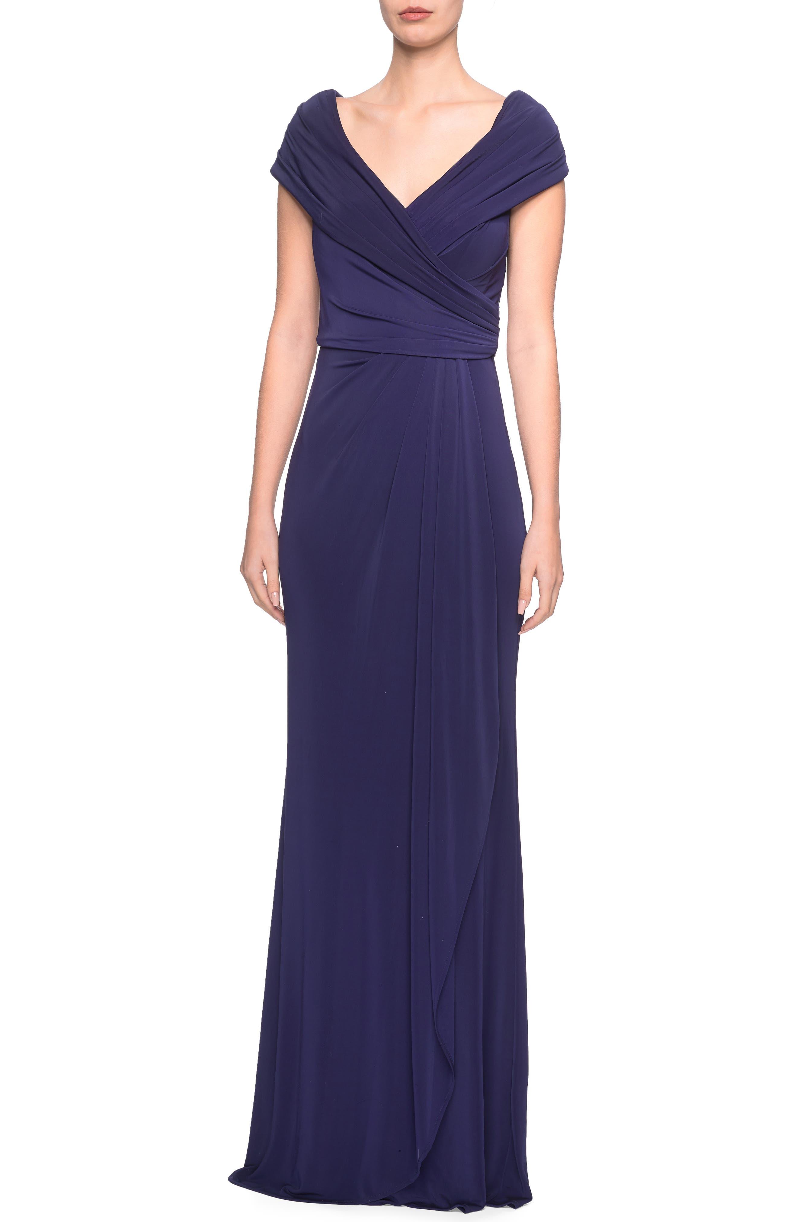 La Femme Ruched Jersey Gown, Blue