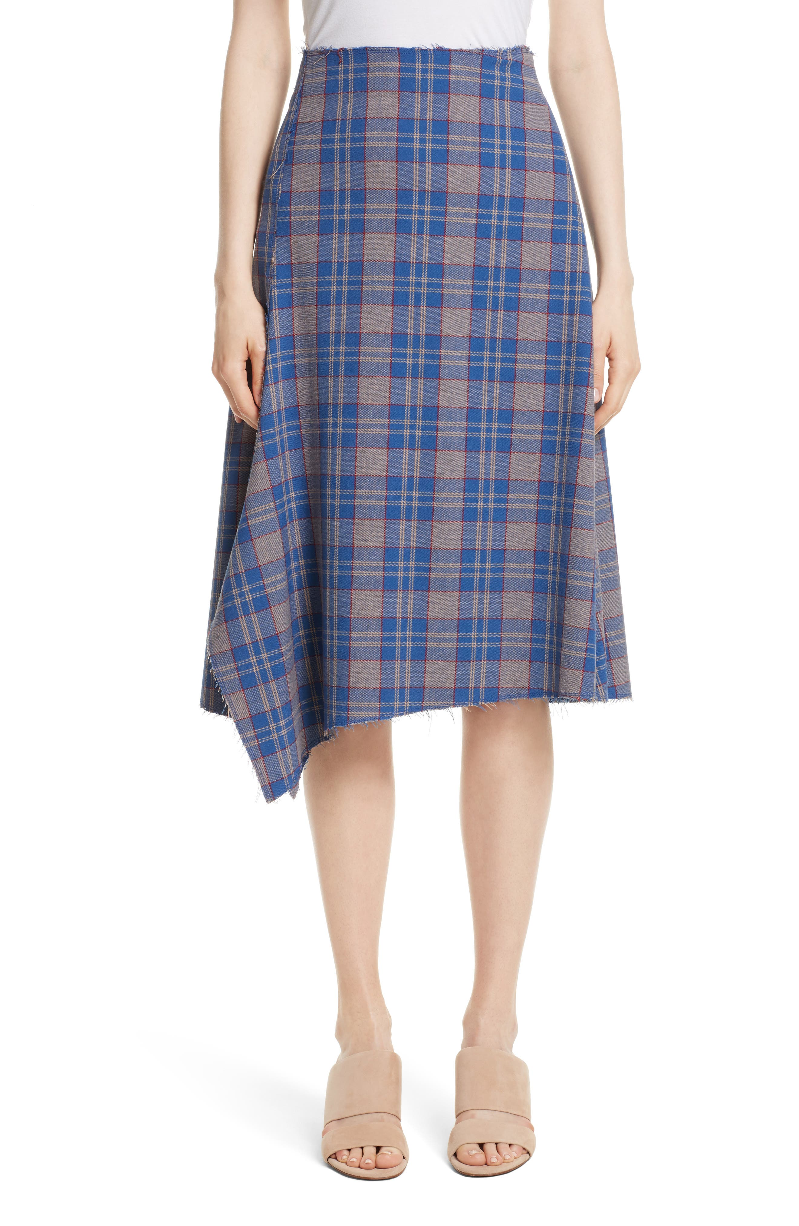 Asymmetric Plaid Midi Skirt,                             Main thumbnail 1, color,