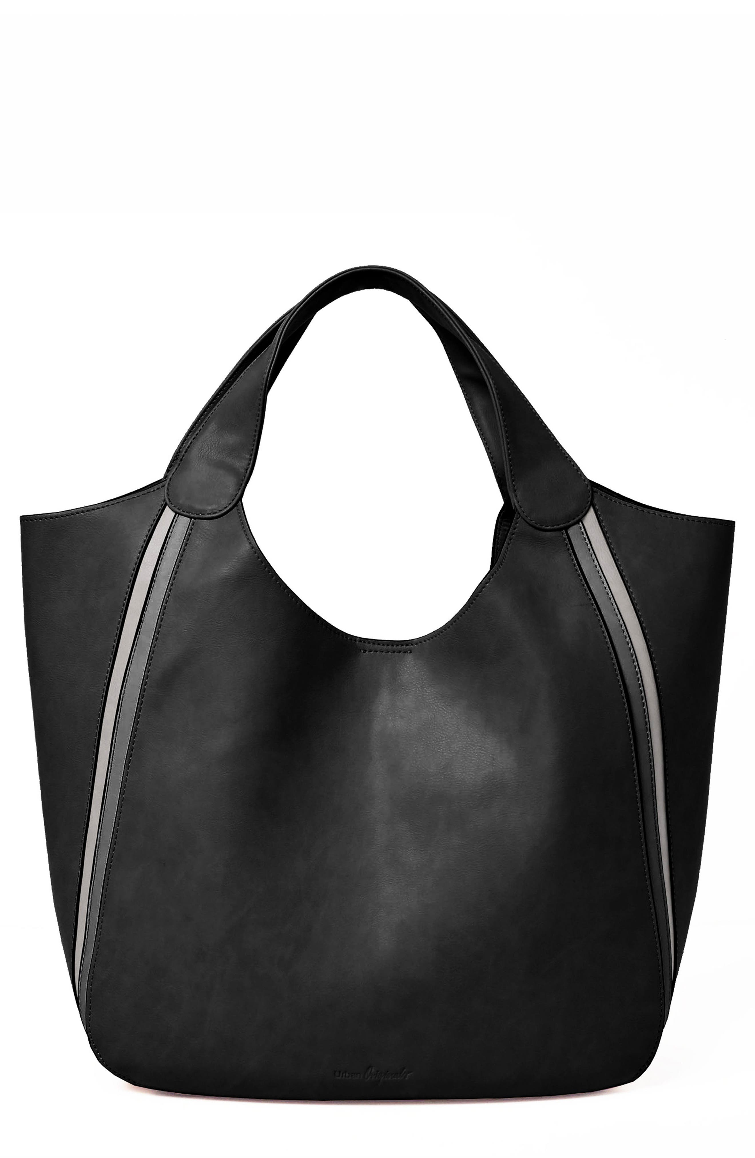 Viva Vegan Leather Tote with Removable Zip Pouch,                         Main,                         color, BLACK