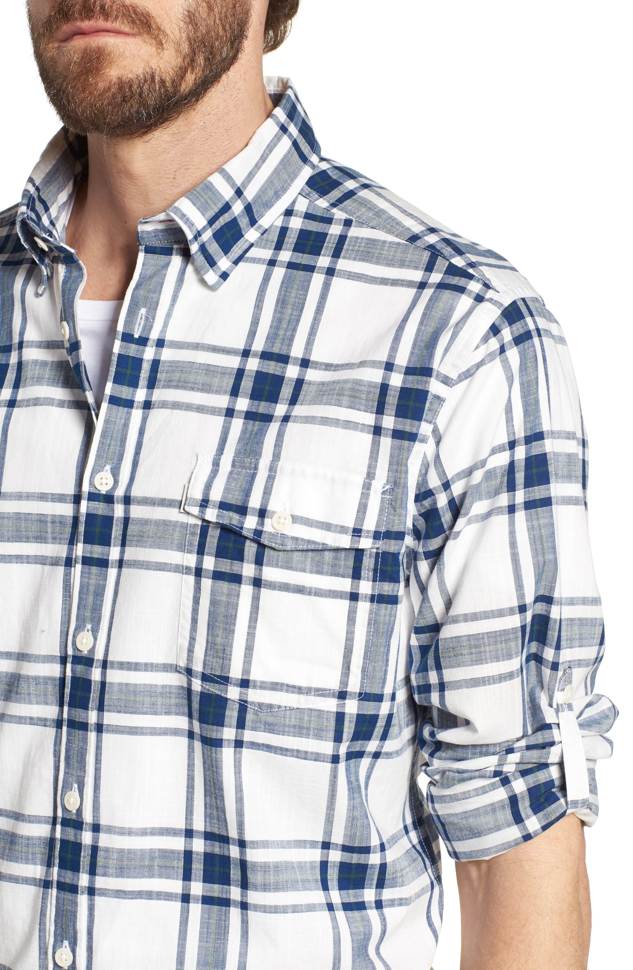 Elver Tailored Fit Plaid Sport Shirt,                             Alternate thumbnail 4, color,                             330