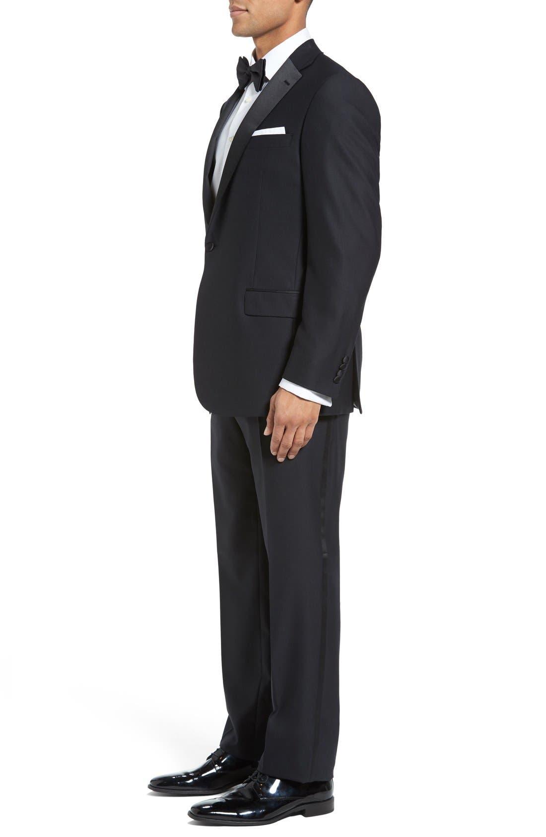 New York Classic Fit Black Wool Tuxedo,                             Alternate thumbnail 3, color,                             BLACK