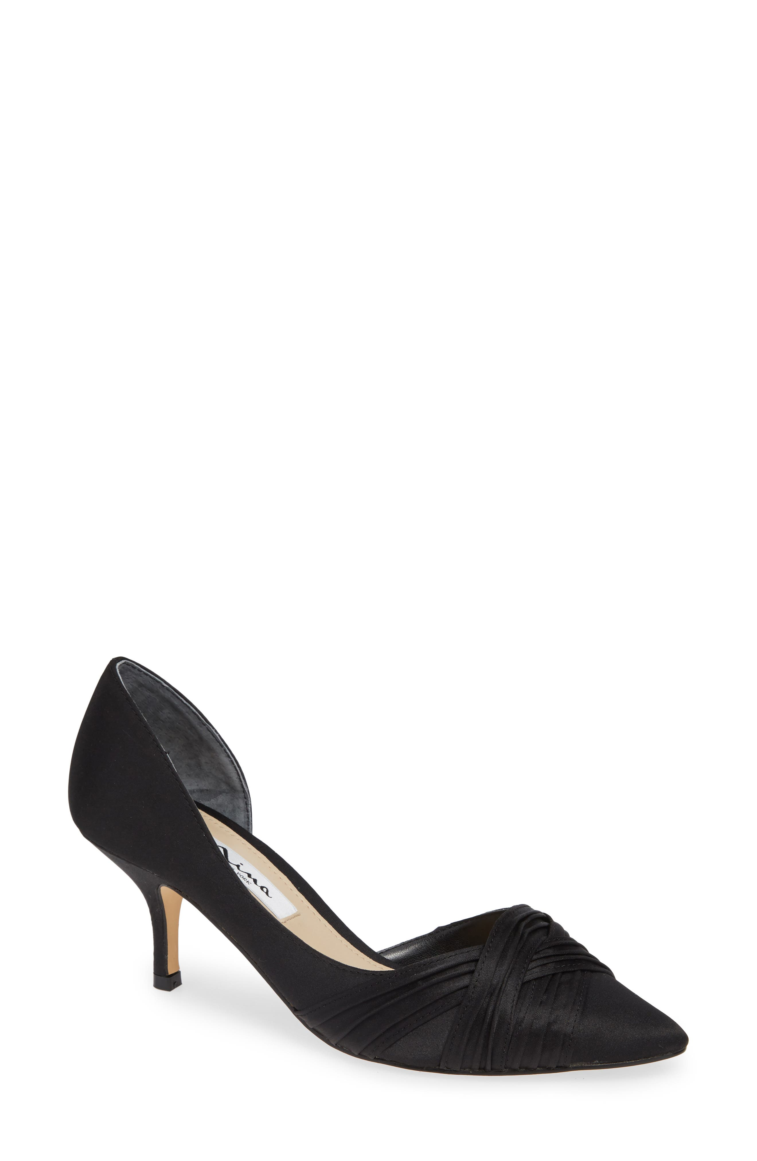 Blakely Half d'Orsay Pointy Toe Pump,                         Main,                         color, BLACK SATIN