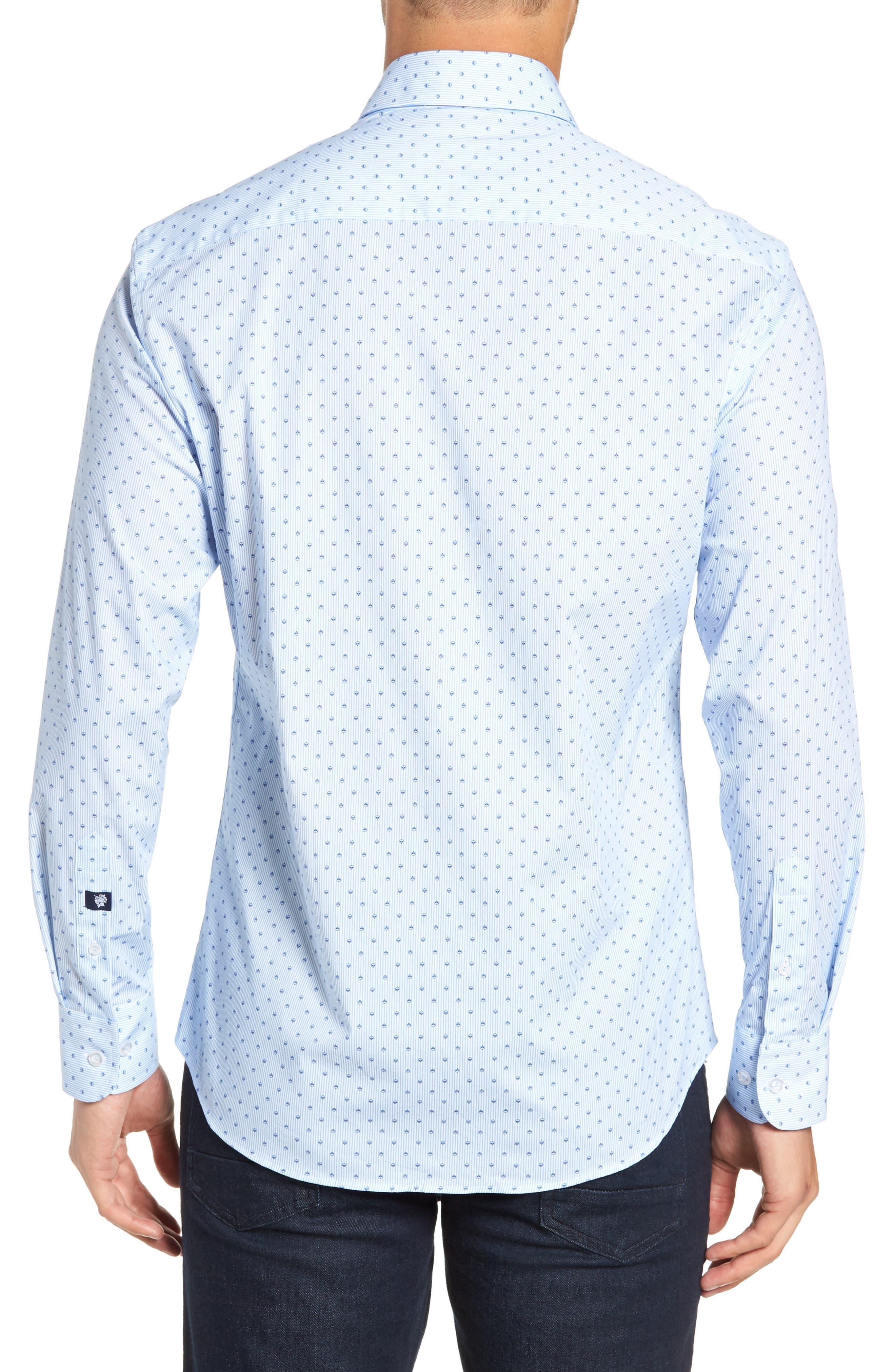 Trim Fit Print Sport Shirt,                             Alternate thumbnail 3, color,                             BLUE