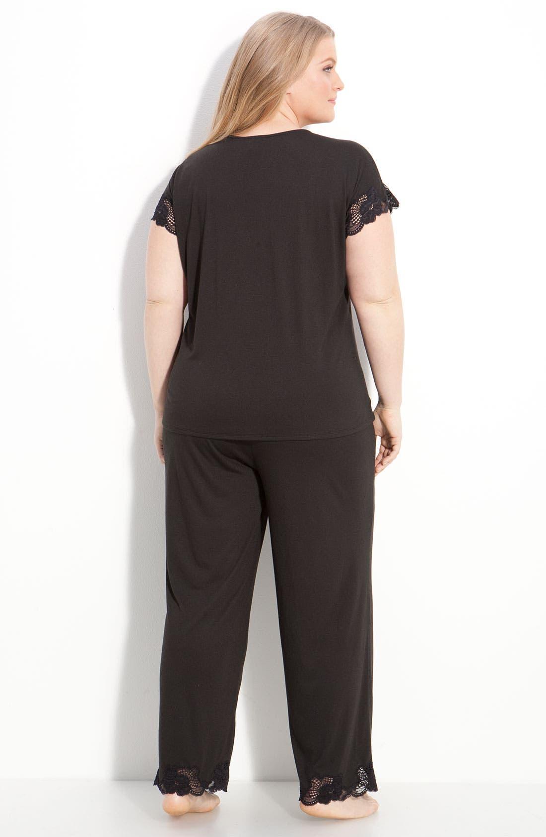 'Zen Floral' Pajamas,                             Alternate thumbnail 2, color,                             BLACK