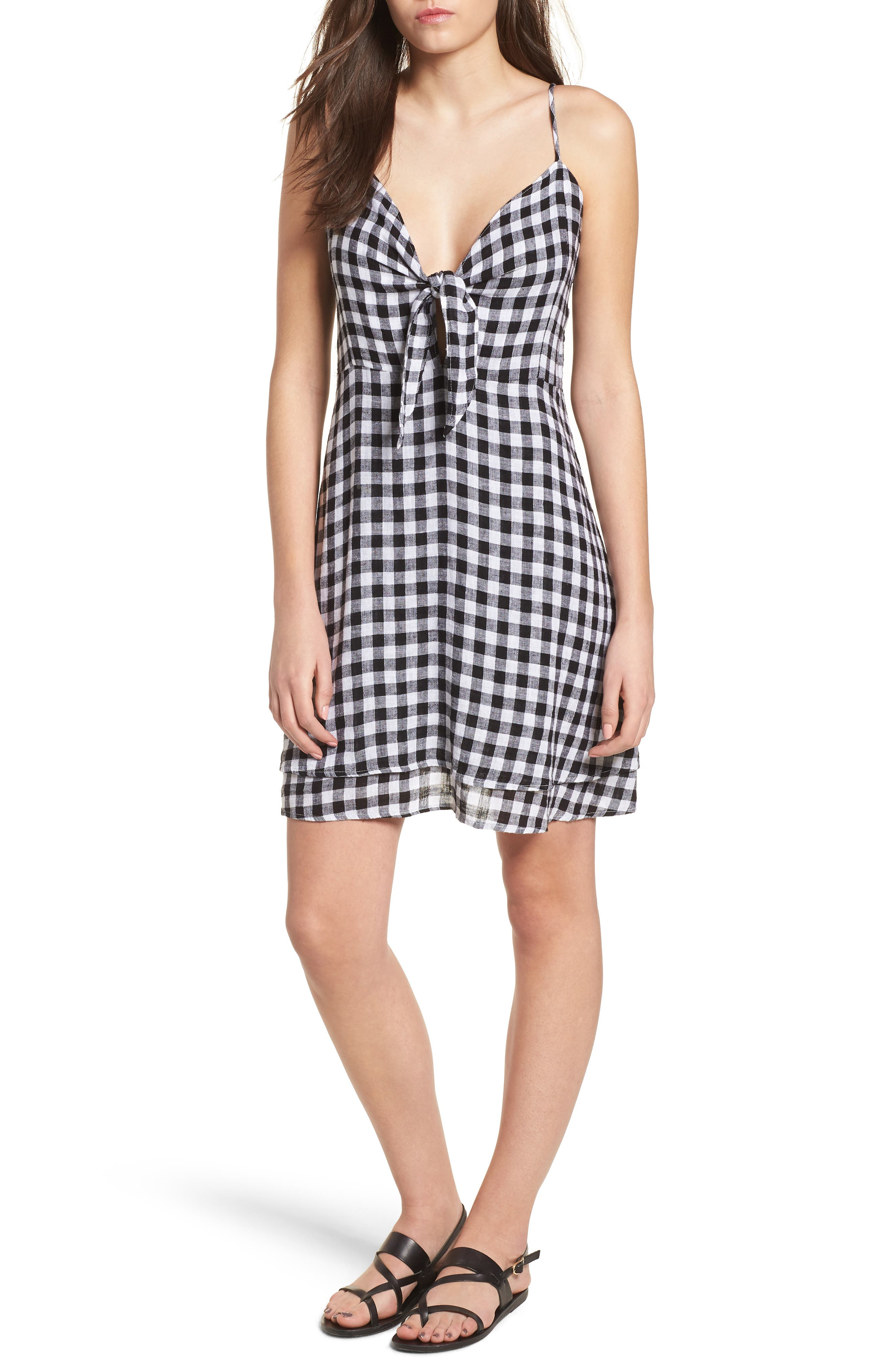 August Gingham Tie Front Dress,                             Main thumbnail 1, color,                             BLACK GINGHAM