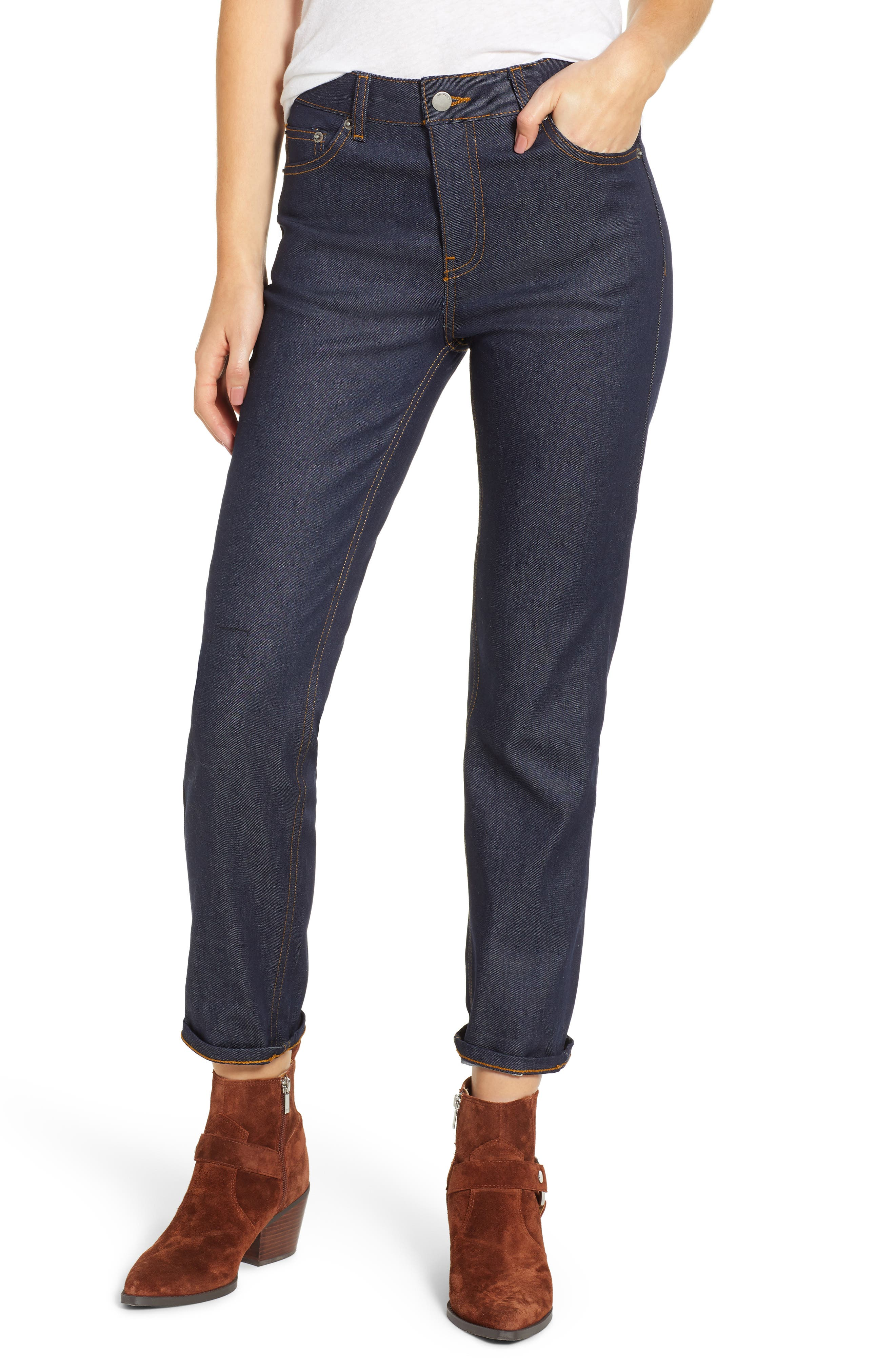 Edie High Waist Crop Jeans,                             Main thumbnail 1, color,                             RINSED BLUE