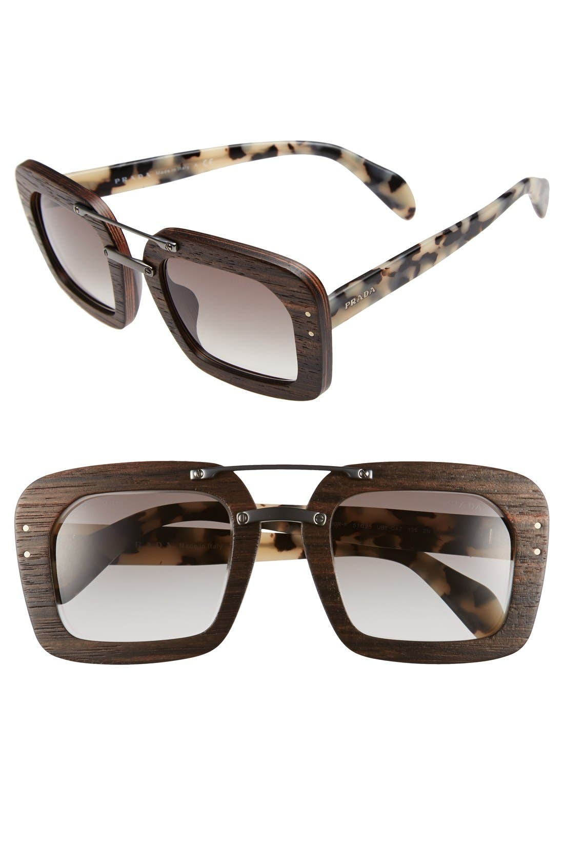 PRADA 51mm Wood Sunglasses, Main, color, 100