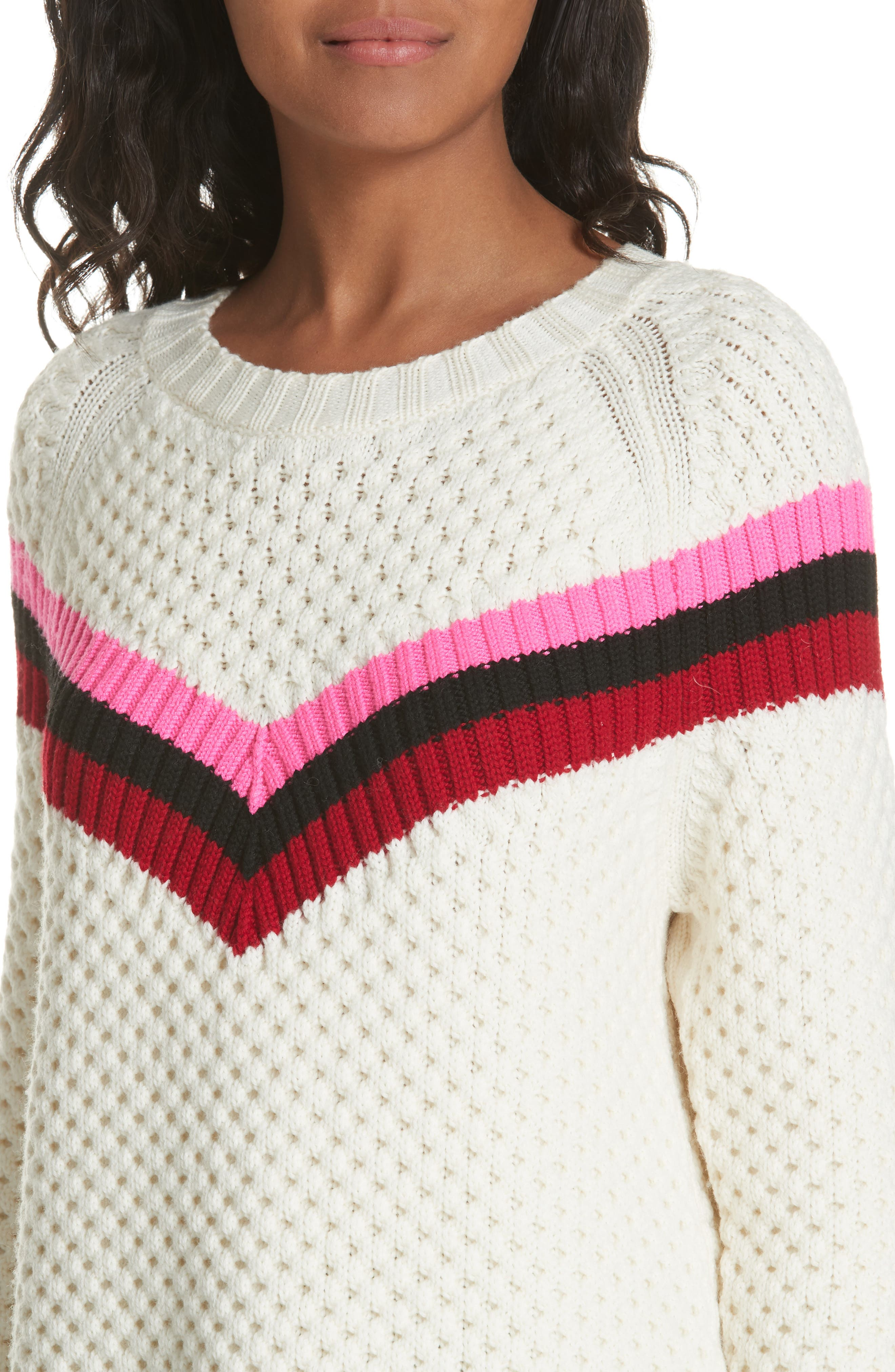 Varsity Stripe Popcorn Stitch Wool Blend Sweater,                             Alternate thumbnail 4, color,                             WHITE MULTI
