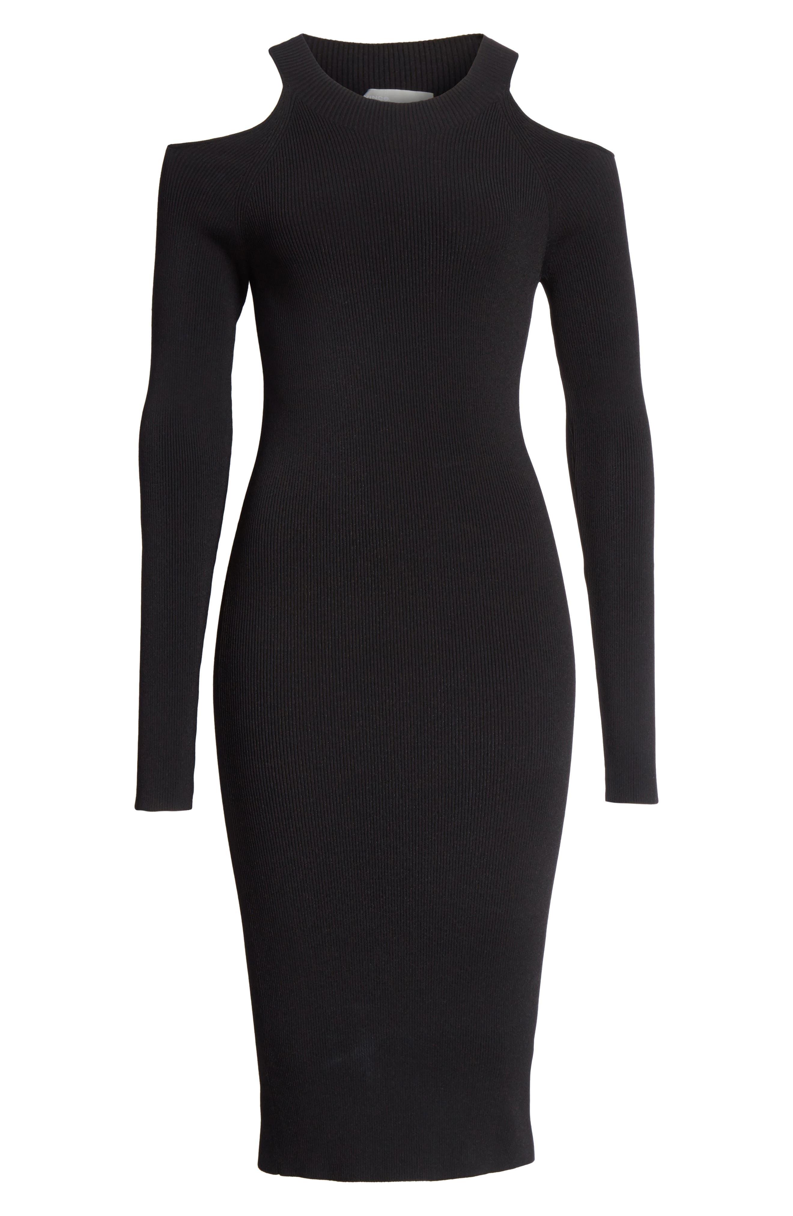 Cold Shoulder Body-Con Dress,                             Alternate thumbnail 6, color,