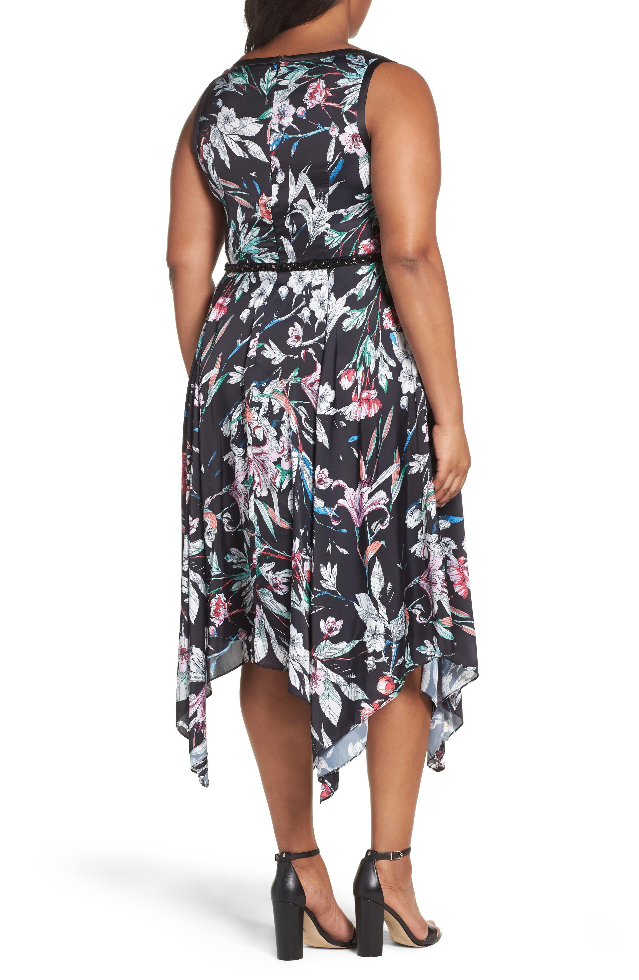 Print Satin Chiffon Handkerchief Dress,                             Alternate thumbnail 2, color,                             BLACK MULTI