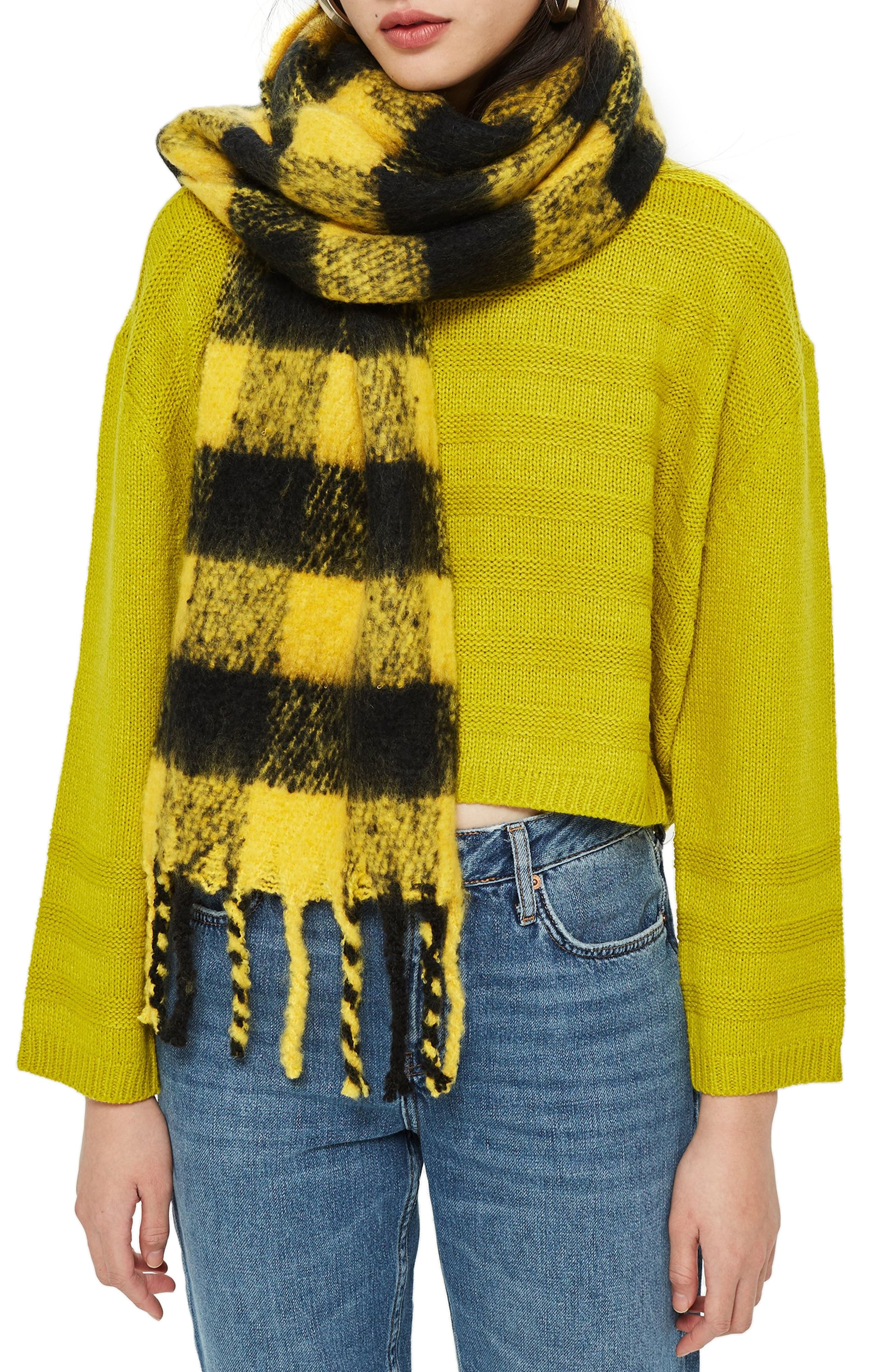 Heavy Punk Check Scarf,                             Main thumbnail 1, color,                             YELLOW MULTI