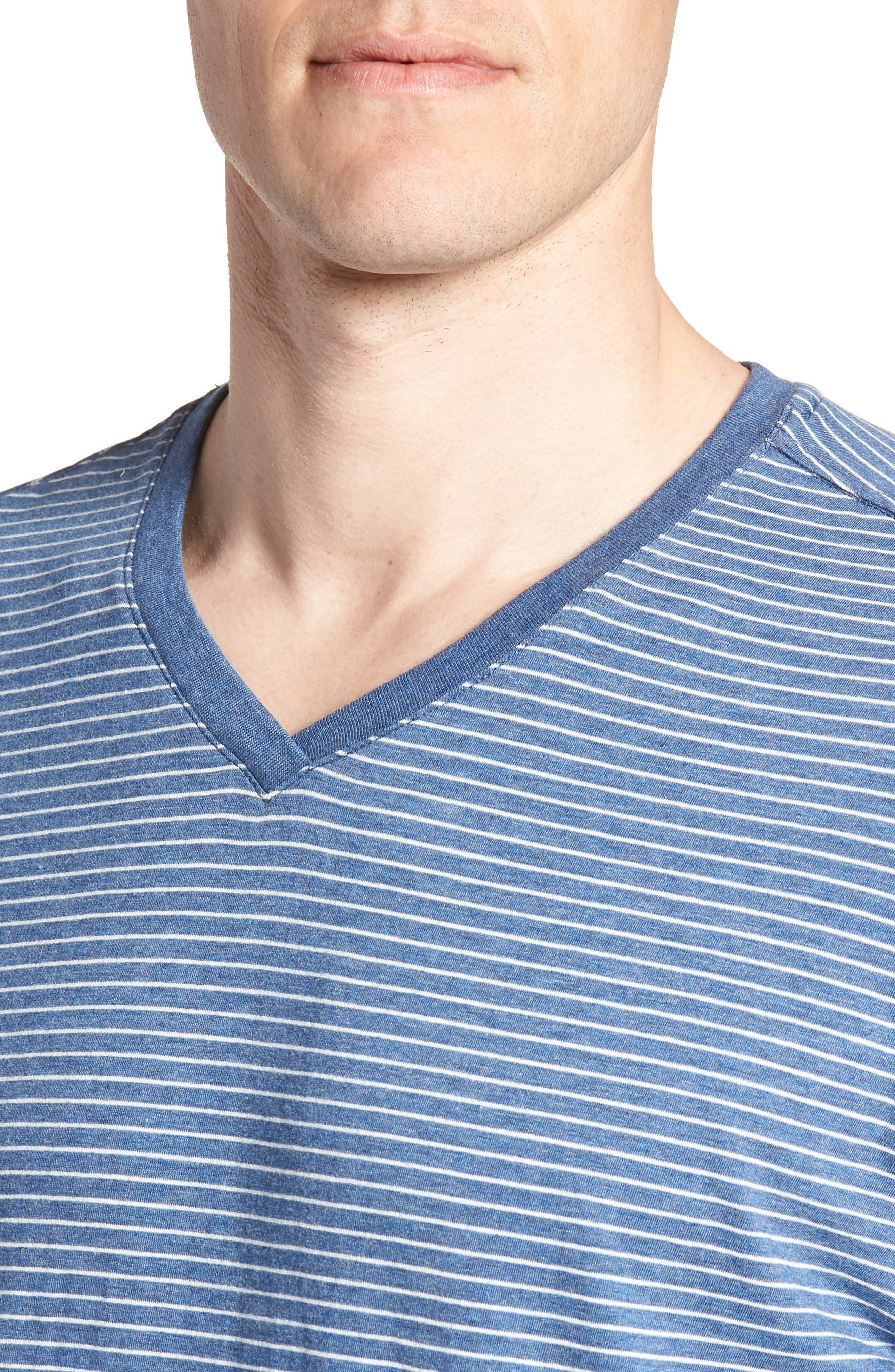 Stripe Pima Cotton & Modal V-Neck T-Shirt,                             Alternate thumbnail 4, color,                             479