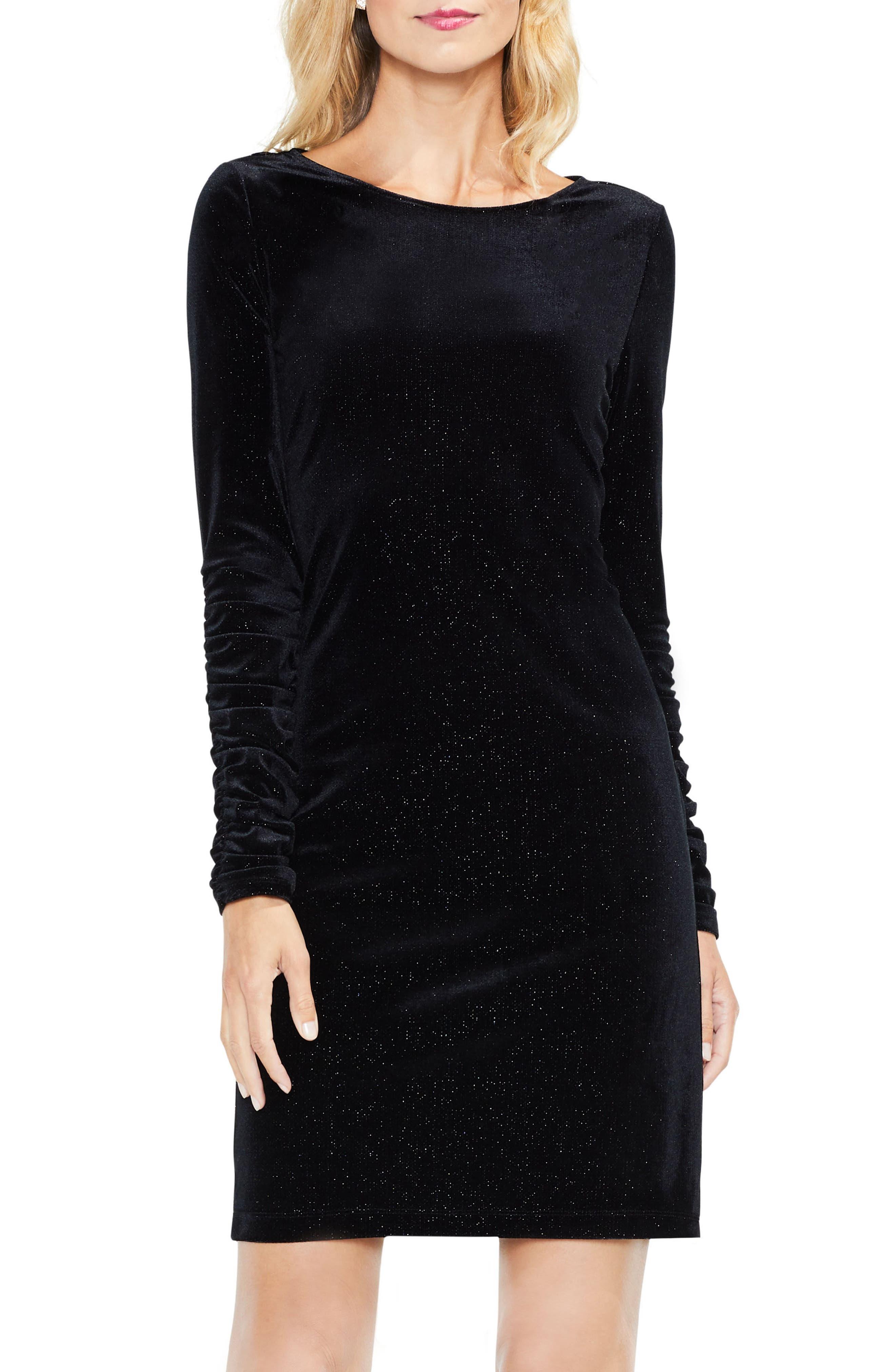 Ruched Sleeve Sparkle Velvet Dress,                             Alternate thumbnail 6, color,                             006