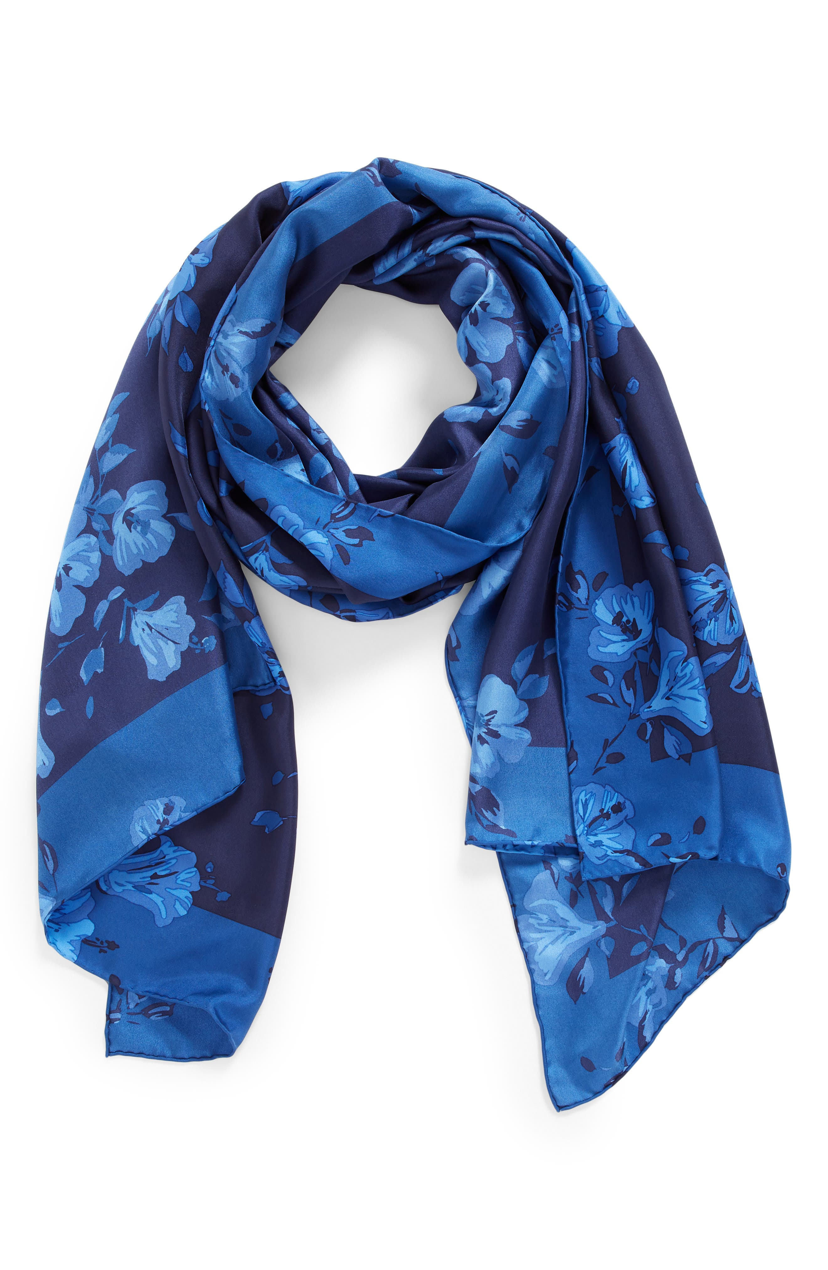 hibiscus silk scarf,                             Alternate thumbnail 2, color,                             415