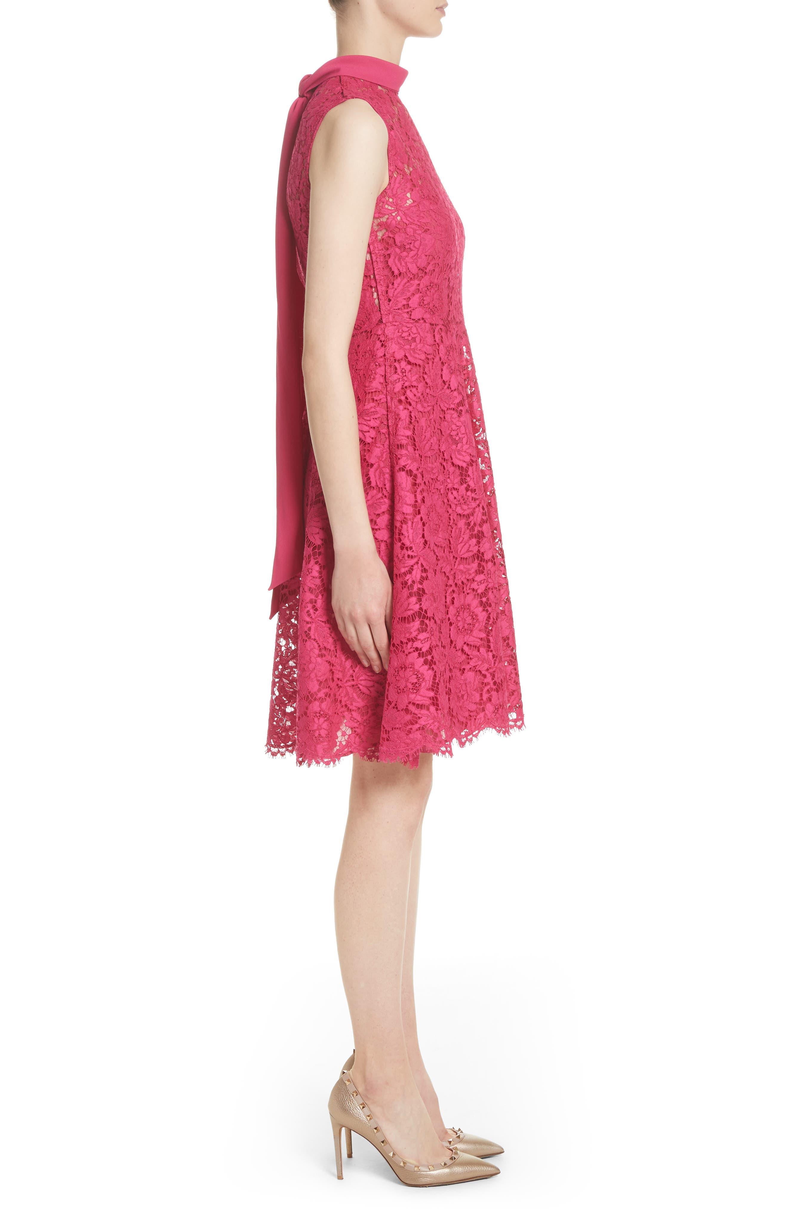 Tie Neck Guipure Lace Dress,                             Alternate thumbnail 3, color,                             650