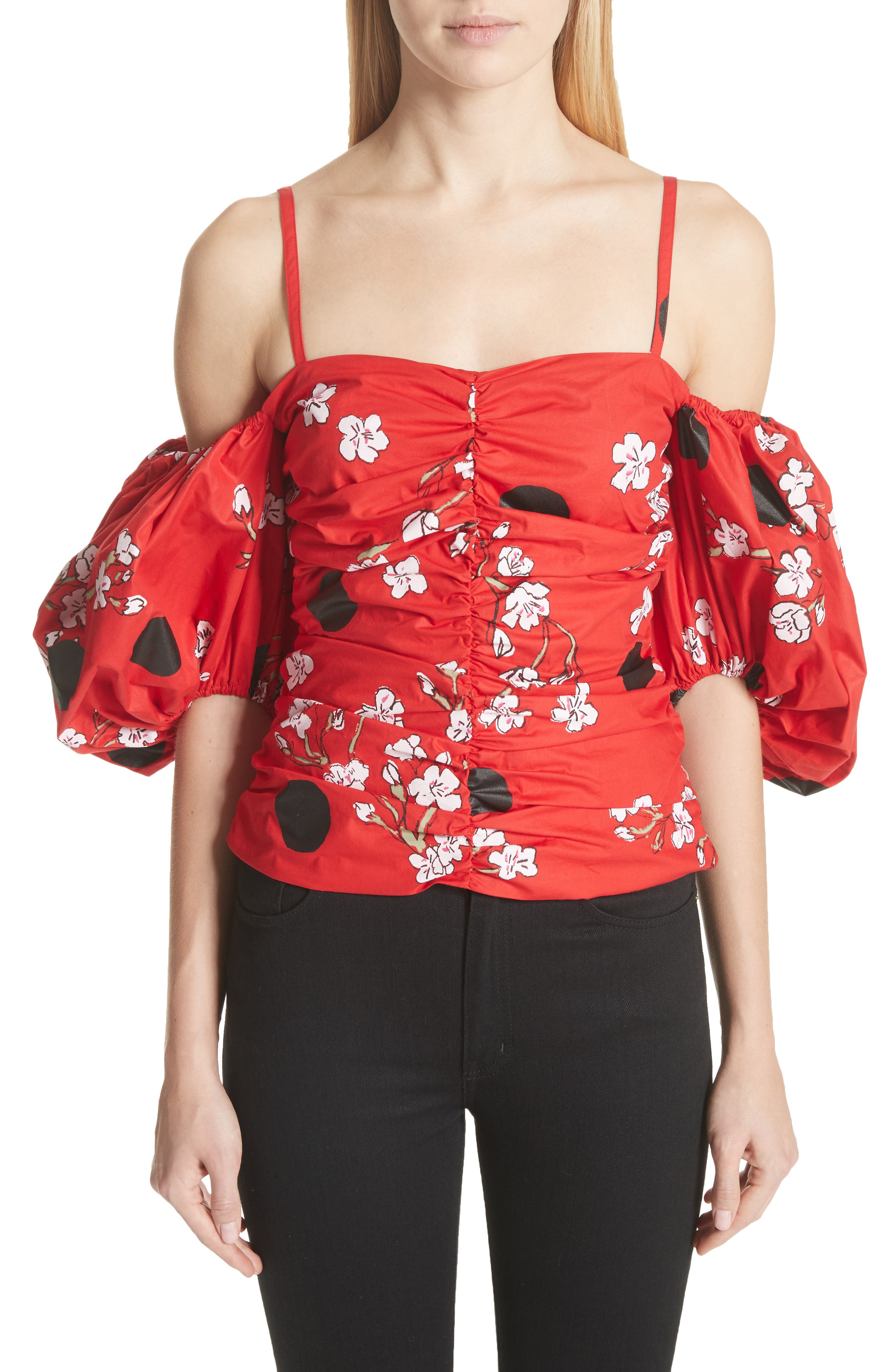 Ruched Bubble Sleeve Top,                             Main thumbnail 1, color,                             600