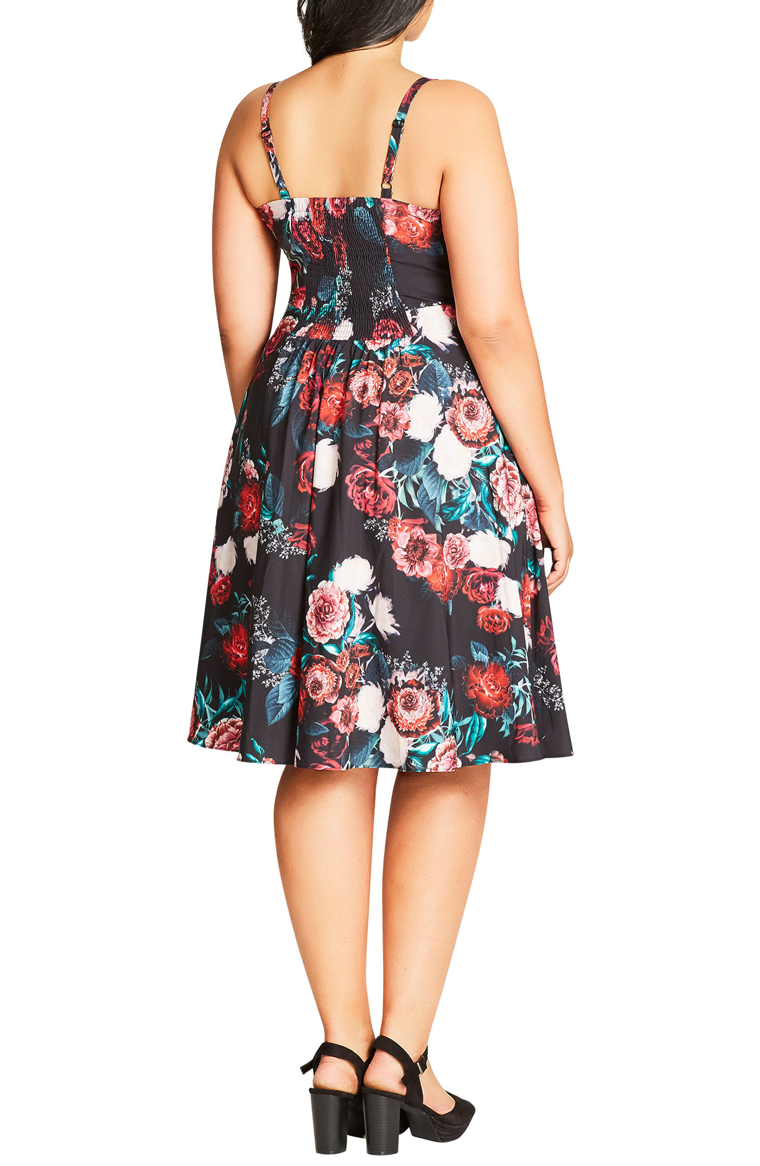 Floral Print Fit & Flare Dress,                             Alternate thumbnail 2, color,                             001