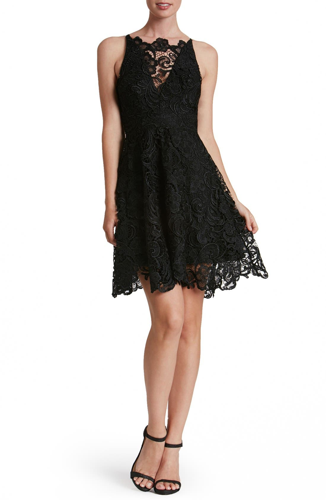 'Hayden' Lace Fit & Flare Dress,                             Alternate thumbnail 9, color,