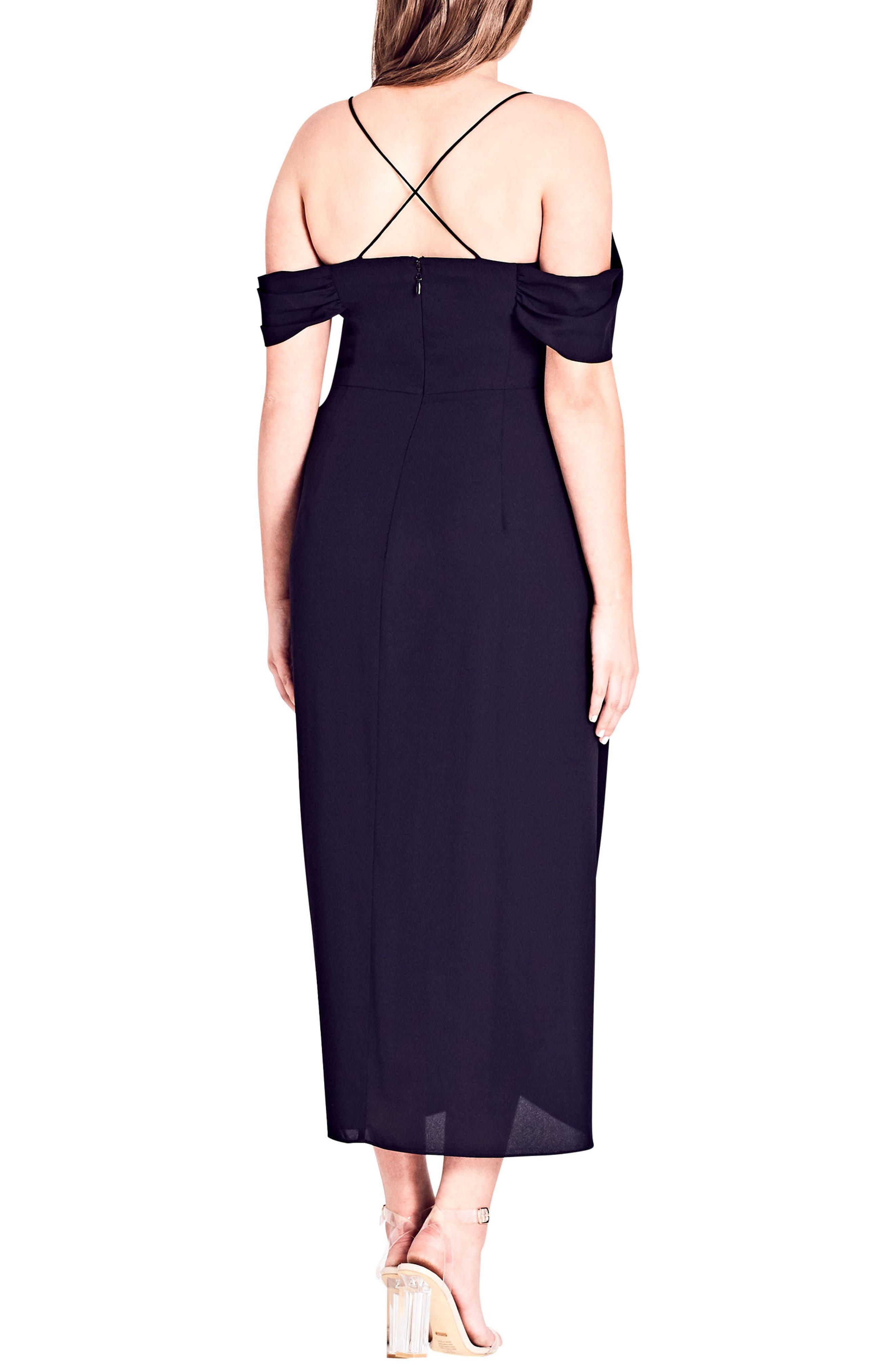 Entwine Cold Shoulder Maxi Dress,                             Alternate thumbnail 2, color,                             BLACK