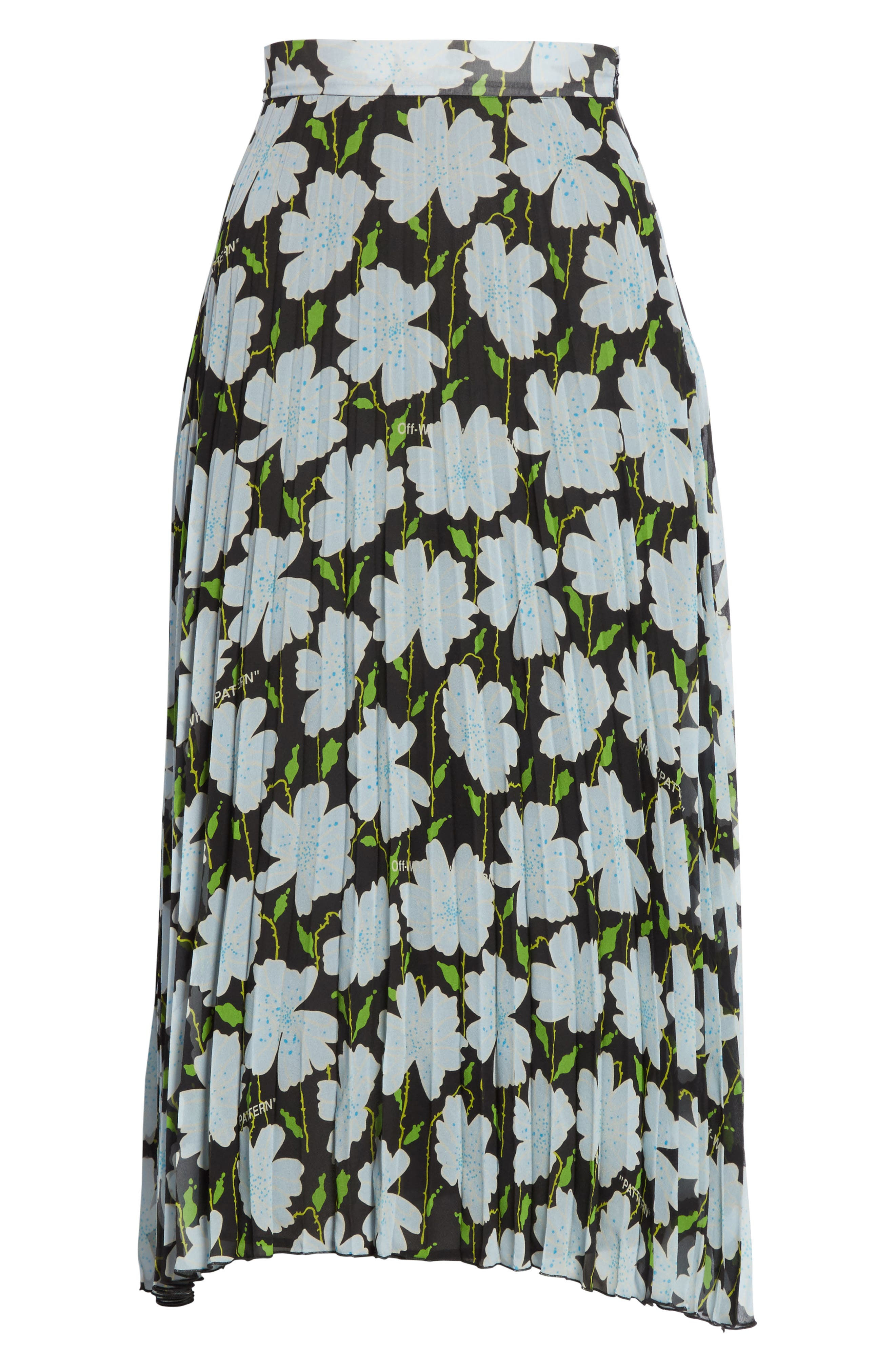 Floral Plissé Silk Skirt,                             Alternate thumbnail 6, color,                             001