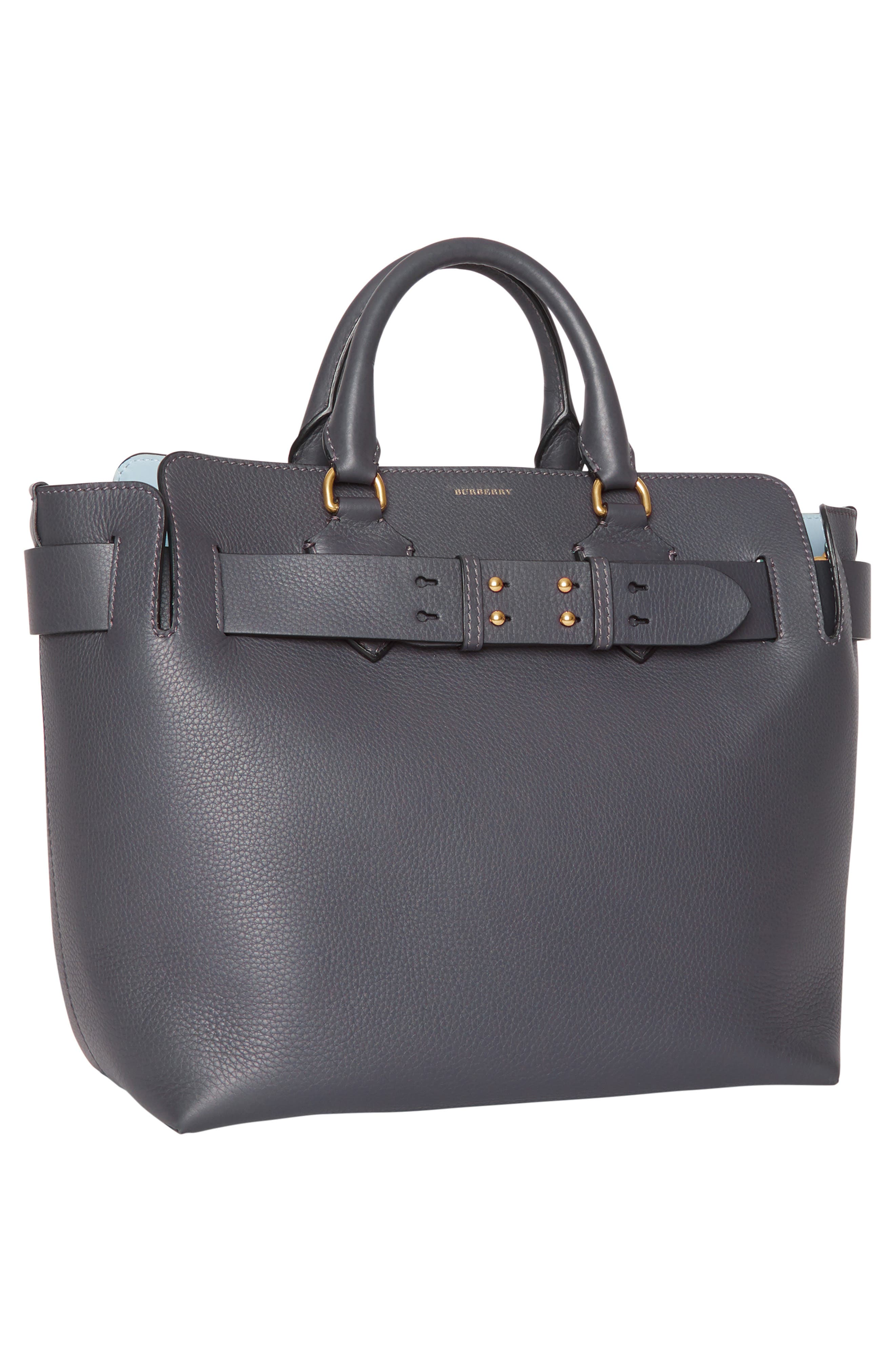 Medium Leather Belted Bag,                             Alternate thumbnail 7, color,                             CHARCOAL GREY