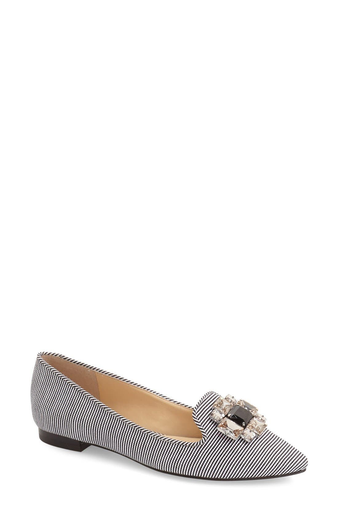 'Libry' Embellished Pointy Toe Flat,                         Main,                         color, 001