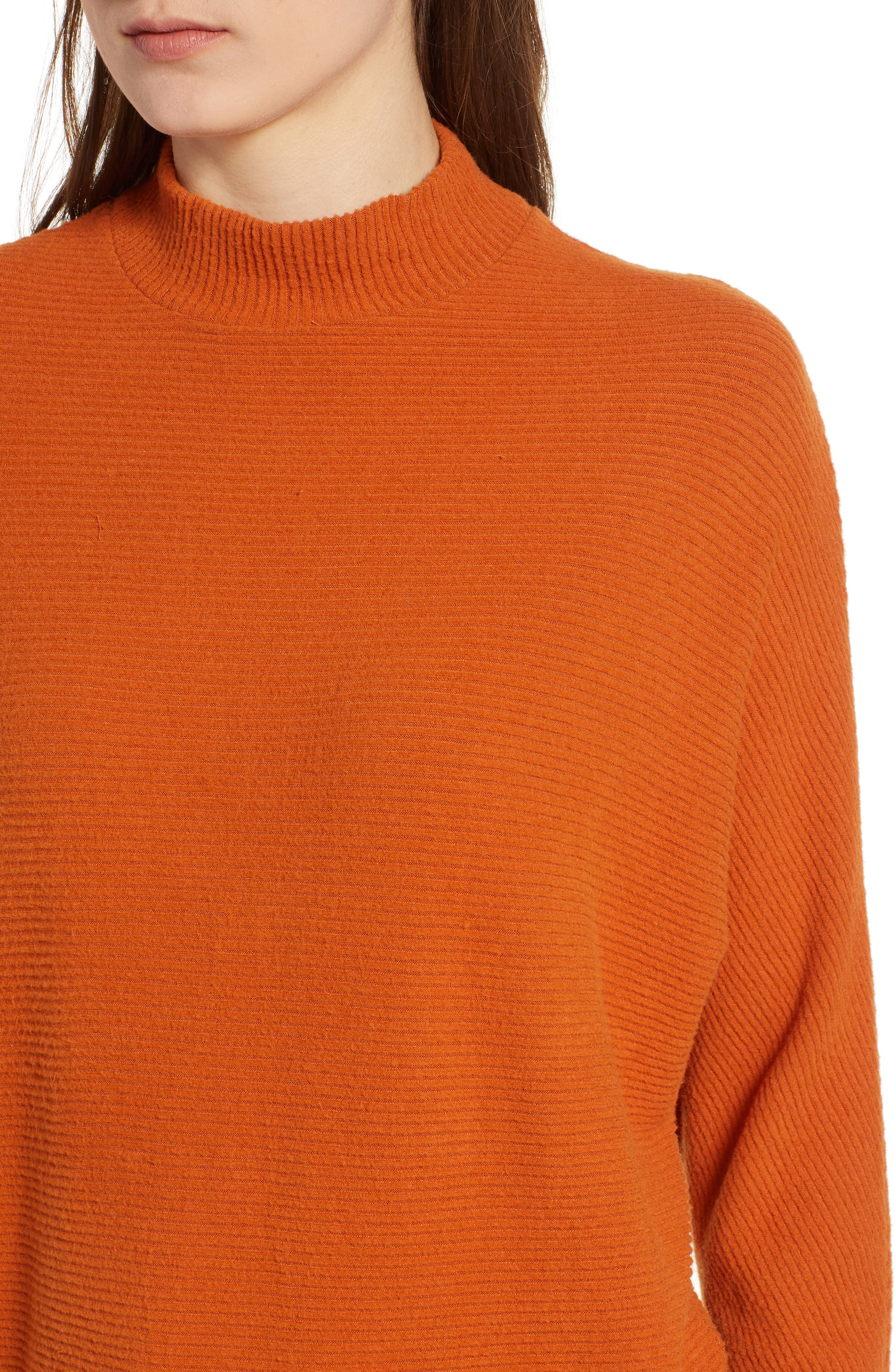 Dolman Sleeve Ribbed Top,                             Alternate thumbnail 5, color,                             RUST CIDER