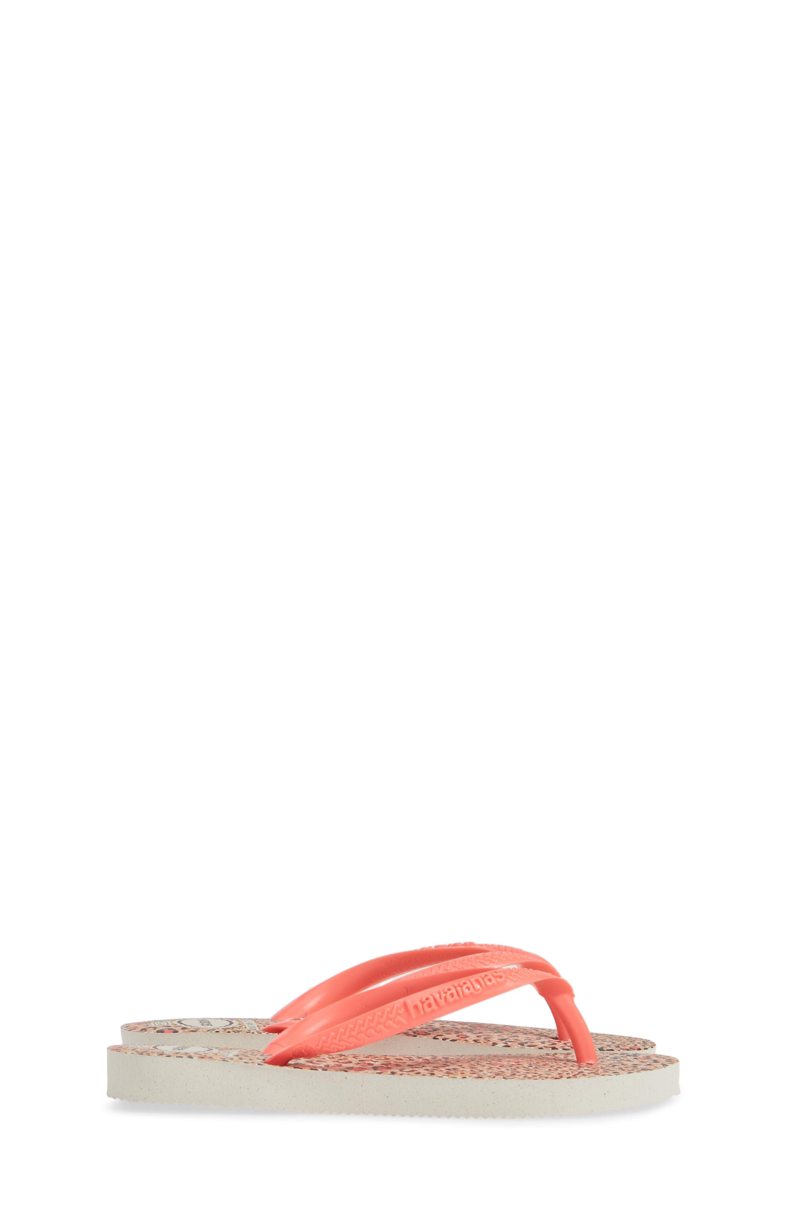 HAVAIANAS,                             'Slim' Animal Print Flip Flop,                             Alternate thumbnail 4, color,                             WHITE/ CORAL