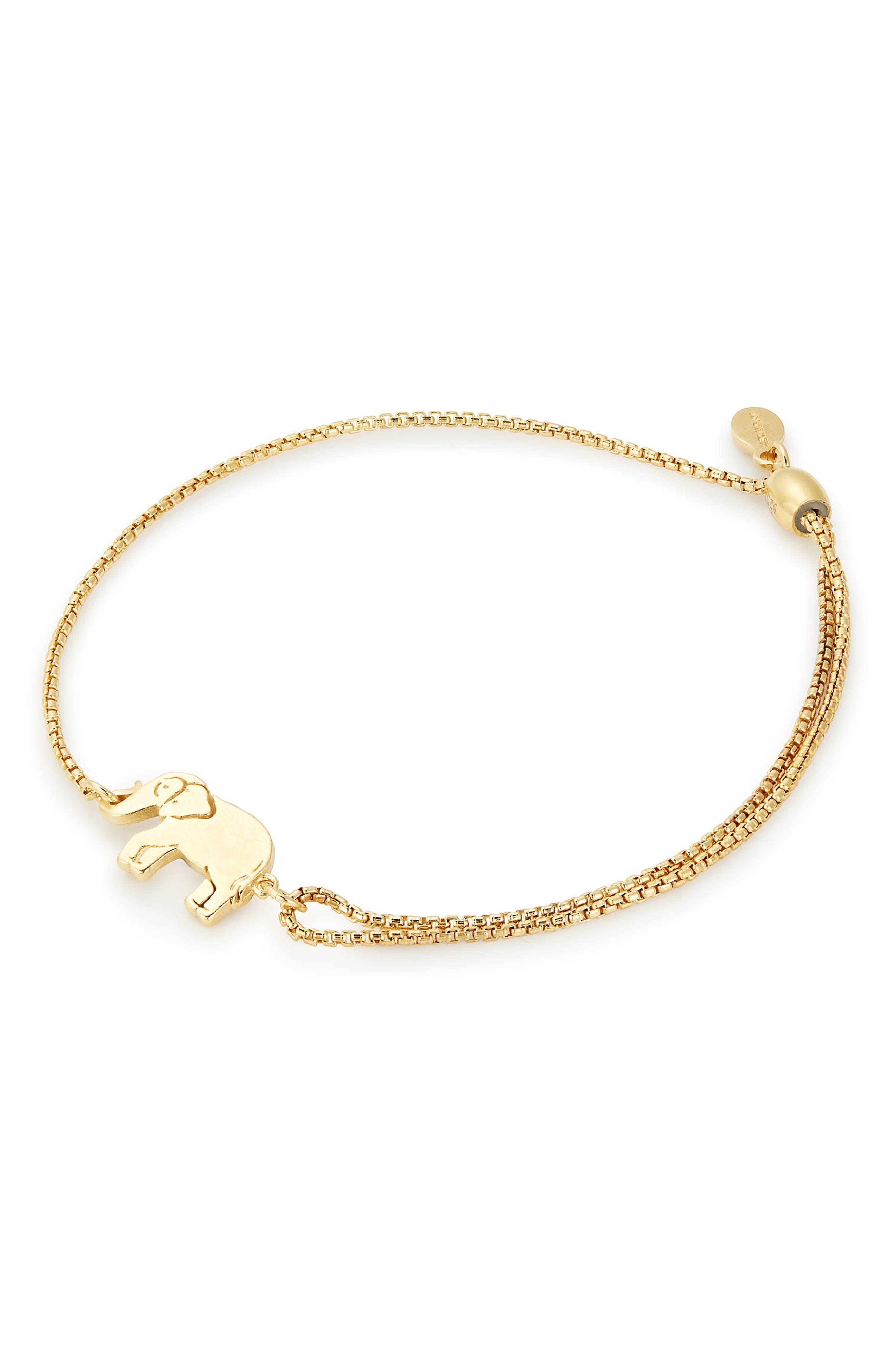 ALEX AND ANI Elephant Pull Chain Bracelet, Main, color, 710