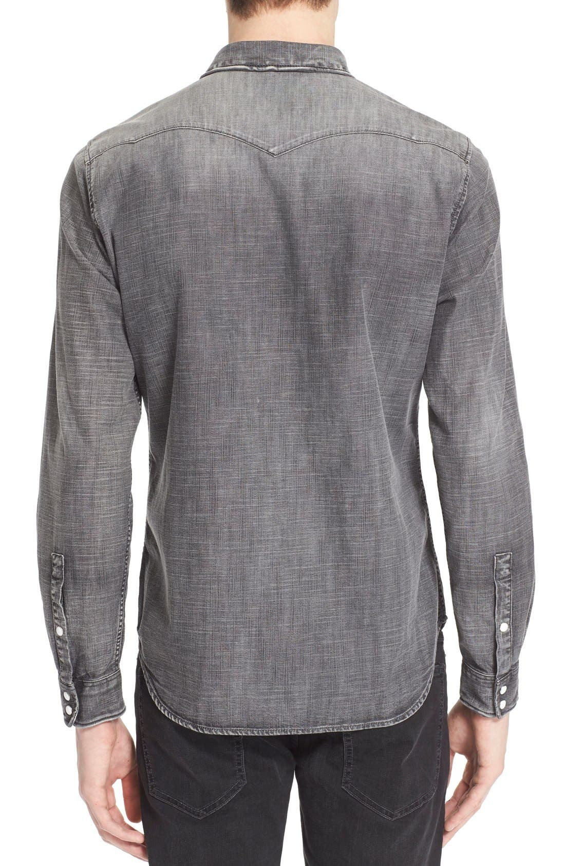 Trim Fit Denim Western Shirt,                             Alternate thumbnail 3, color,                             GREY