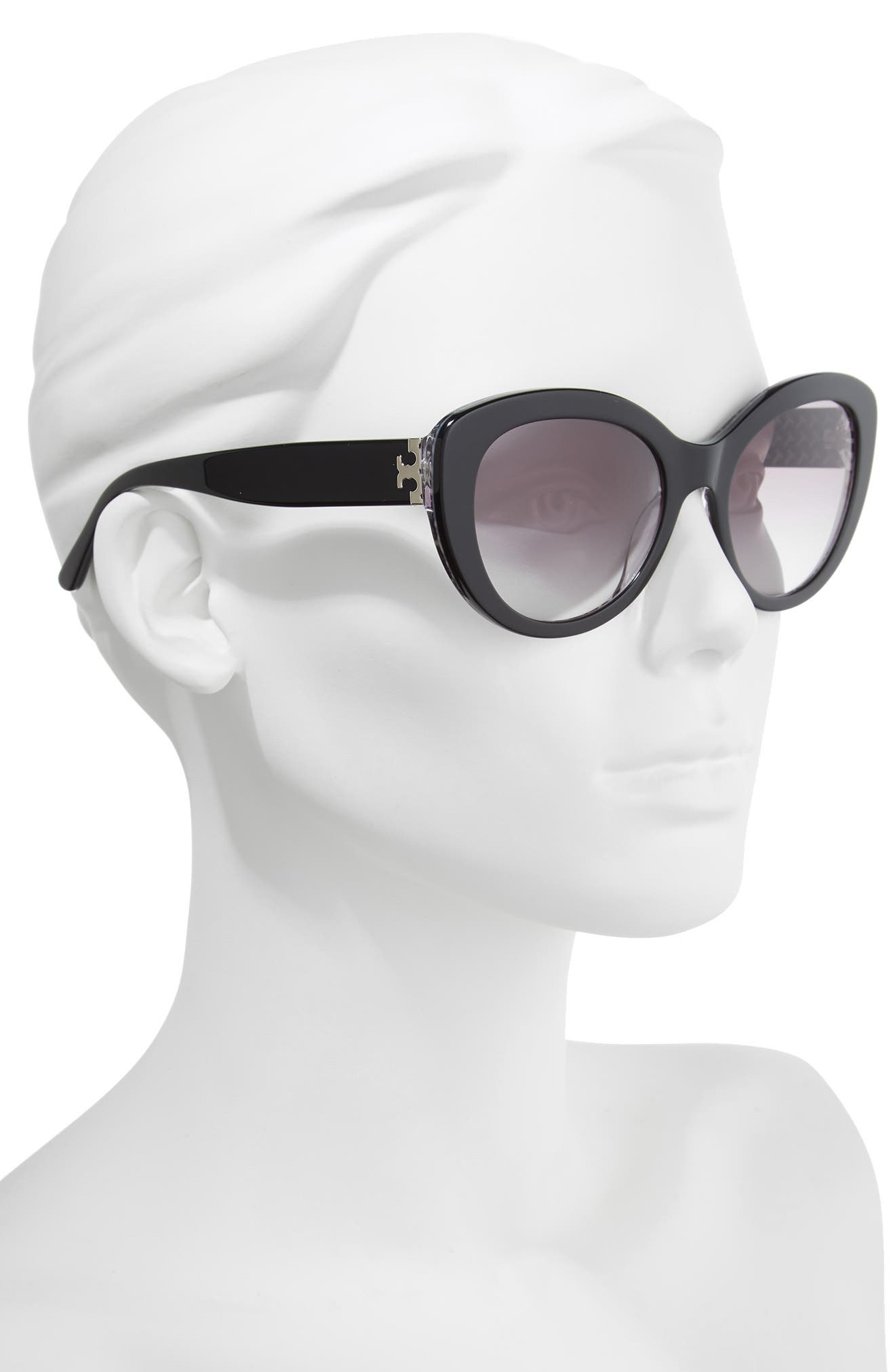 Serif T 55mm Cat Eye Sunglasses,                             Alternate thumbnail 2, color,                             BLACK