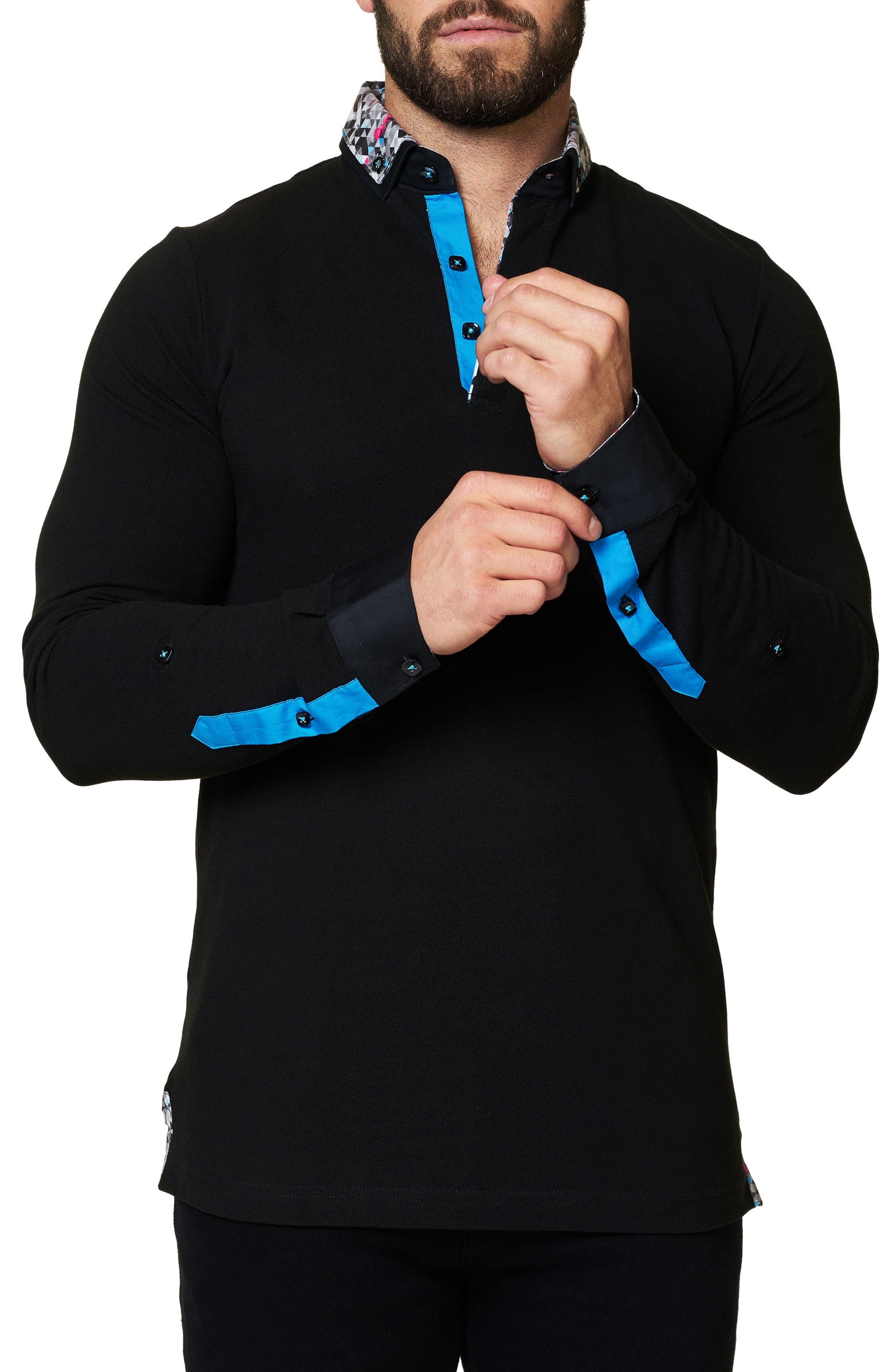 Slim Fit Woven Trim Long Sleeve Polo,                             Alternate thumbnail 3, color,                             002