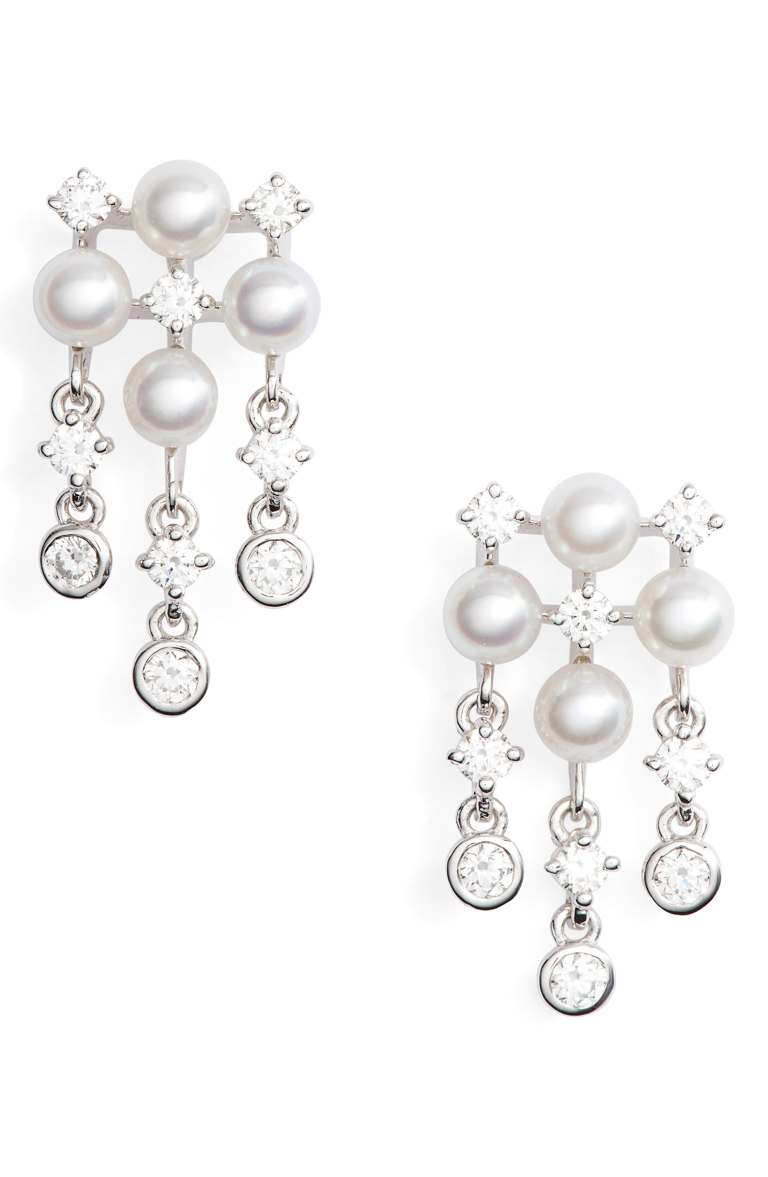Akoya Cultured Pearl & Diamond Earrings, Main, color, WHITE GOLD