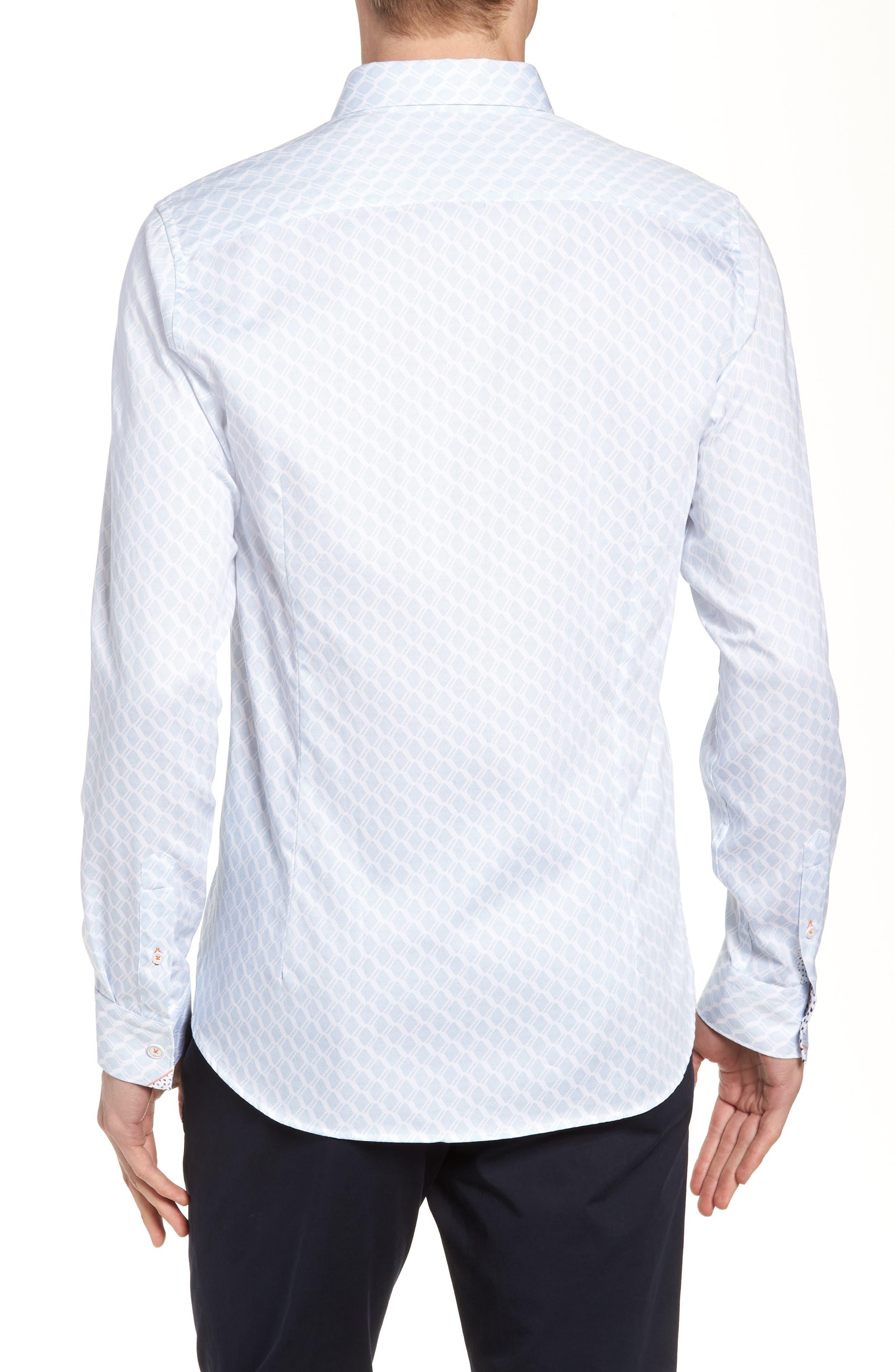 Pimlitt Geo Pattern Sport Shirt,                             Alternate thumbnail 3, color,                             BLUE
