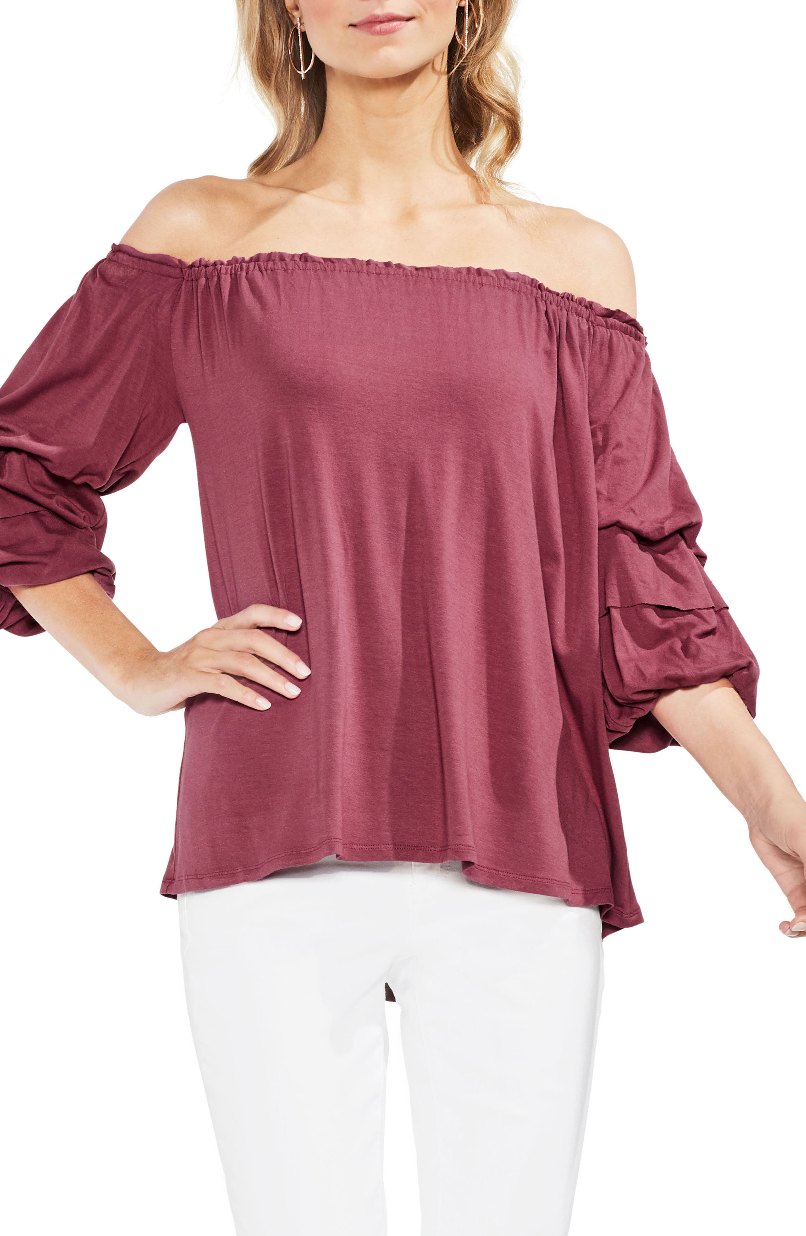 Off The Shoulder Tiered Top,                             Main thumbnail 4, color,