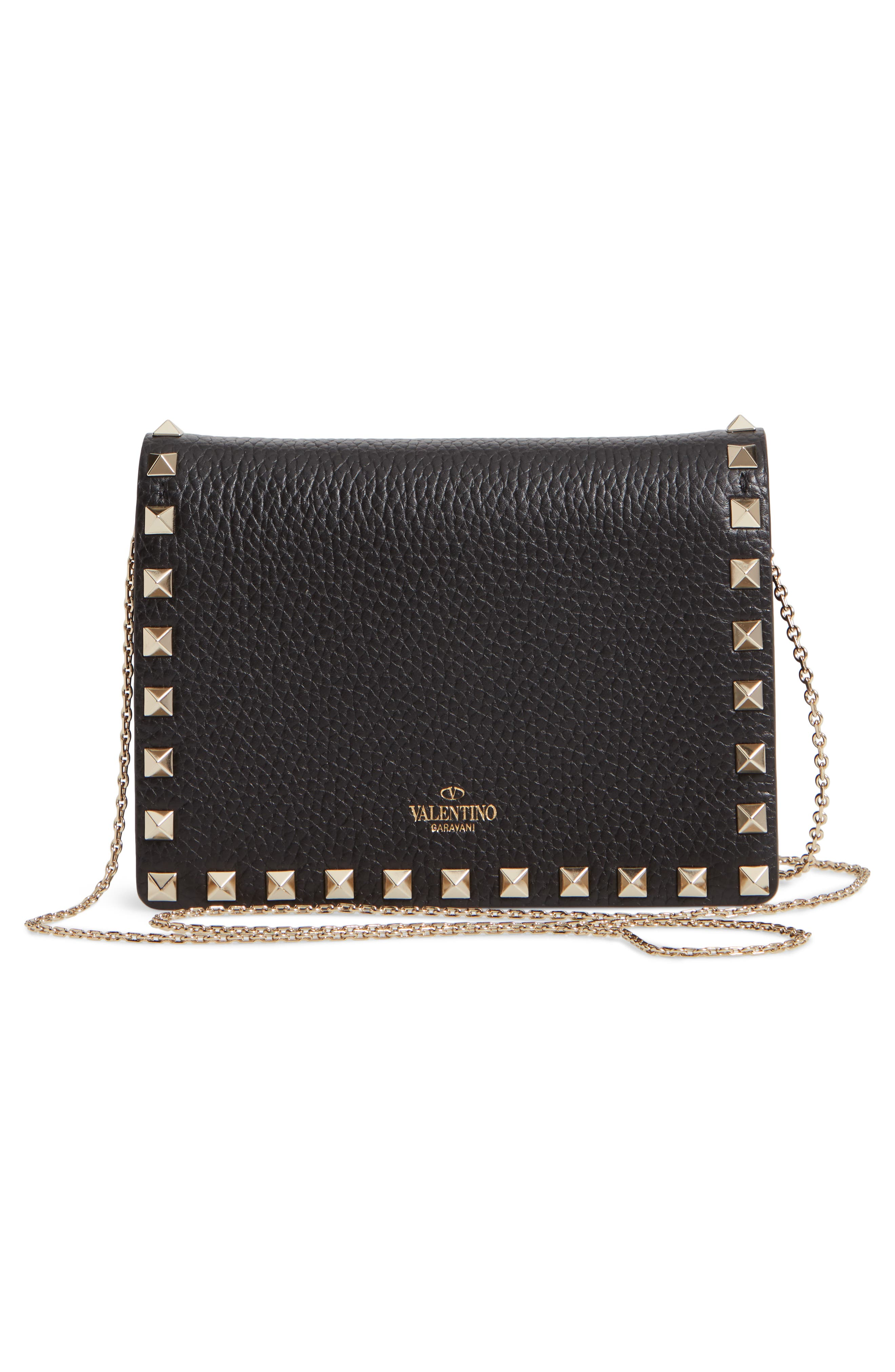 Rockstud Leather Pouch Wallet on a Chain,                             Alternate thumbnail 3, color,                             NERO