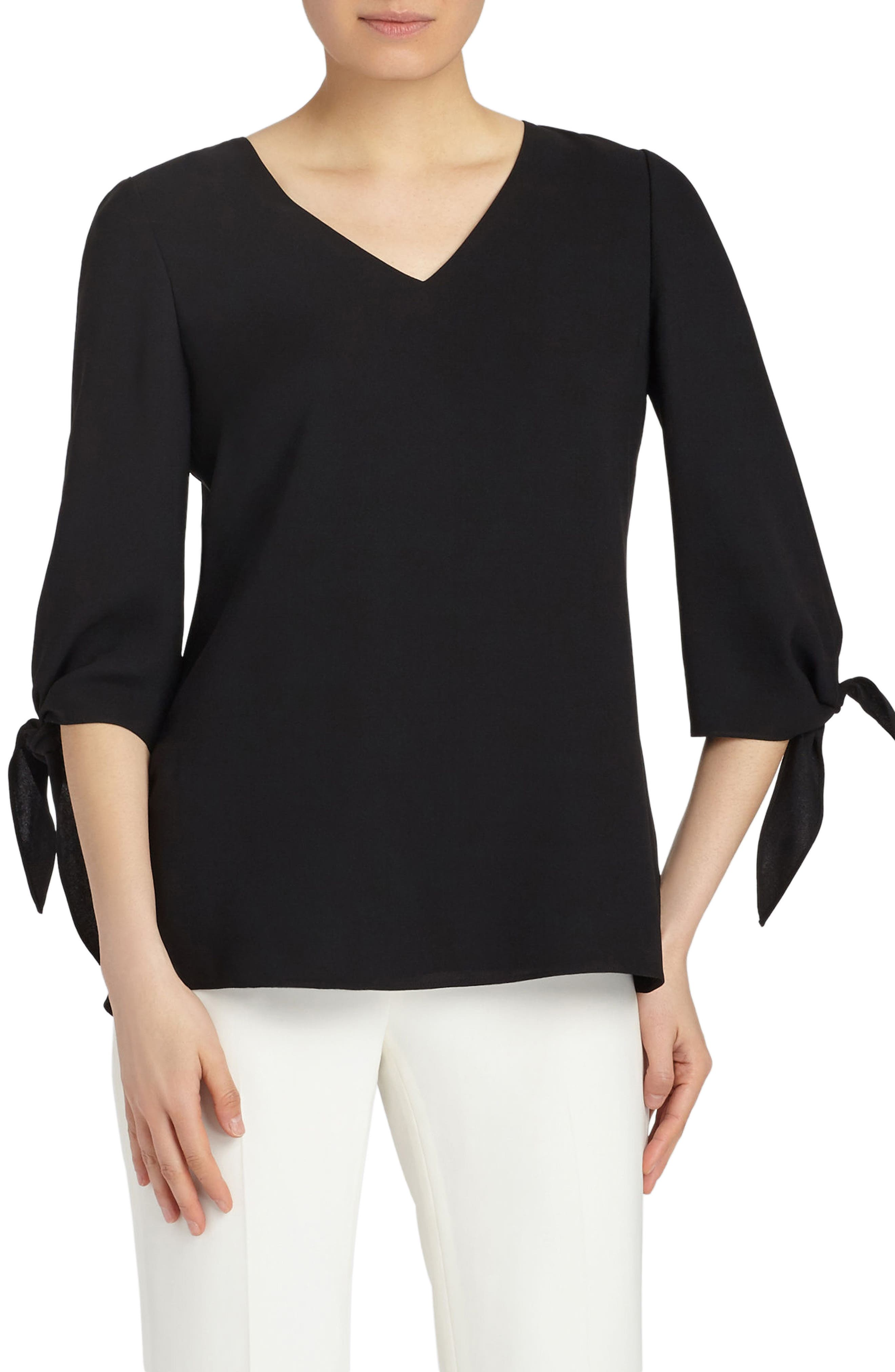 Kenna Double Silk Georgette Blouse,                         Main,                         color, 001