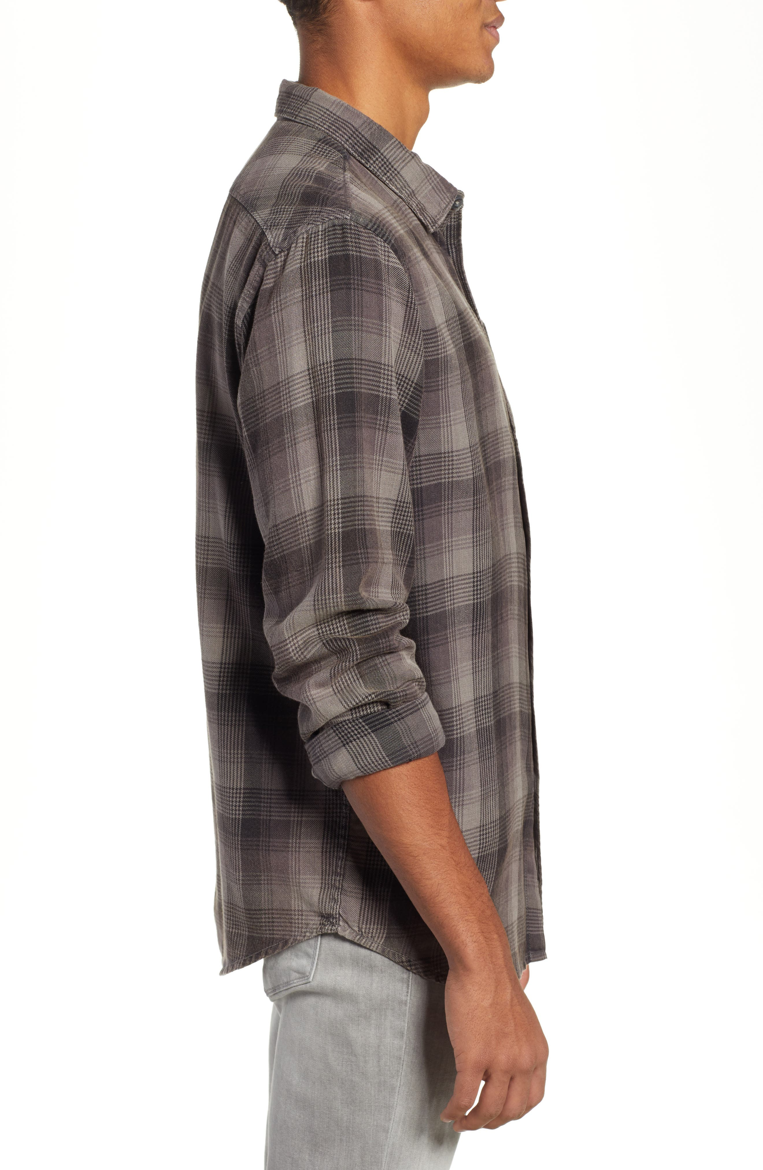 Freemont Flannel Shirt,                             Alternate thumbnail 4, color,                             CHARCOAL